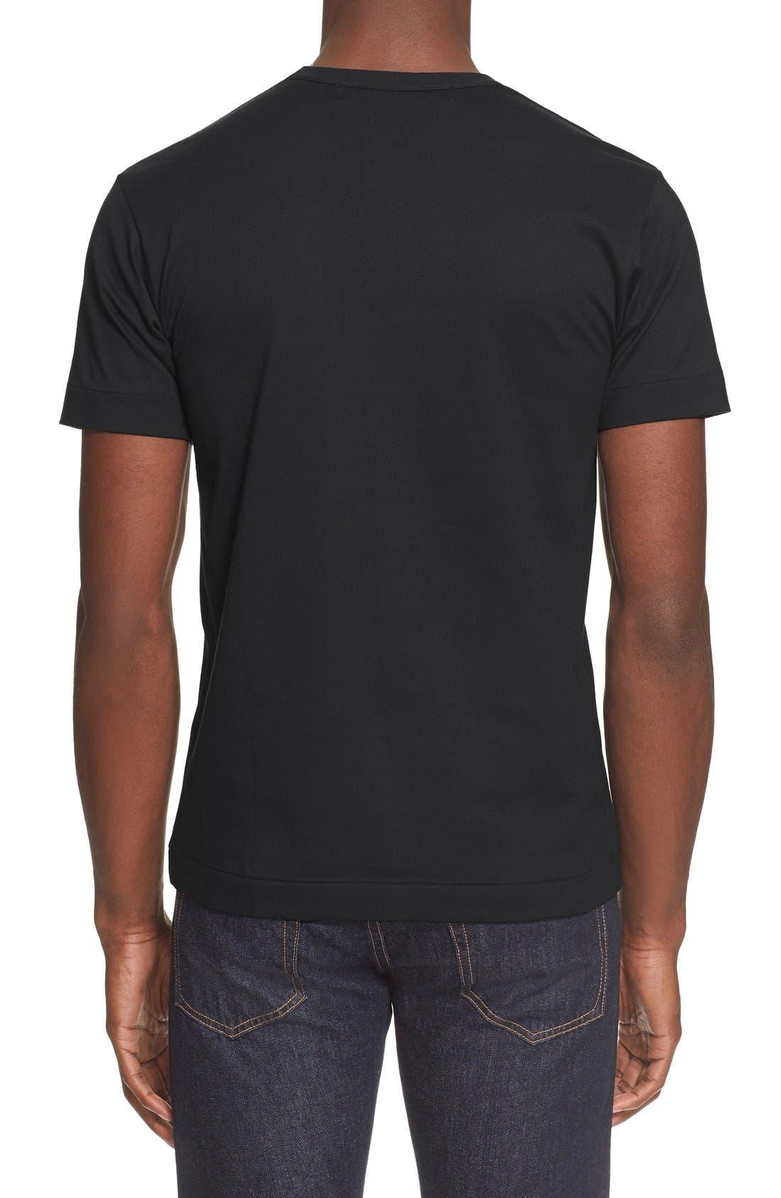 Comme des Garçons PLAY Crewneck T-Shirt,                             Alternate thumbnail 2, color,                             BLACK