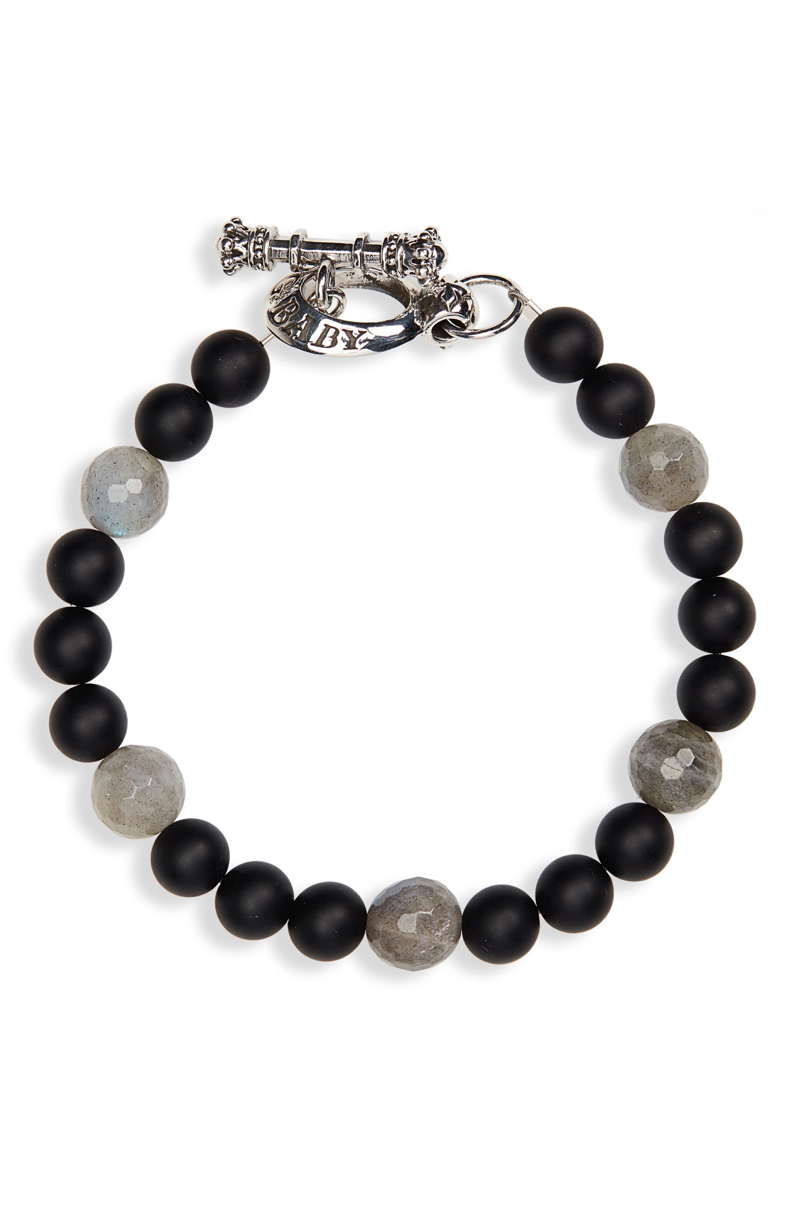 Onyx Bead Bracelet,                             Main thumbnail 1, color,                             BLACK
