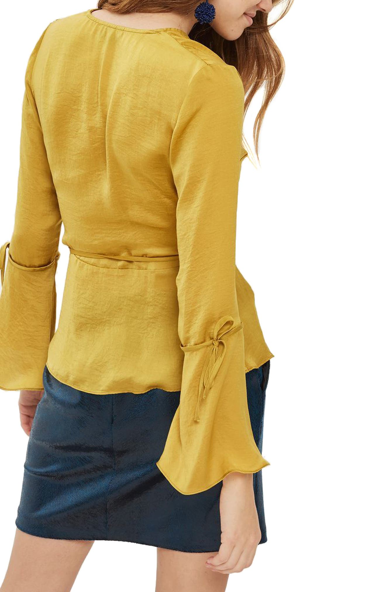 Hammered Satin Wrap Top,                             Alternate thumbnail 6, color,
