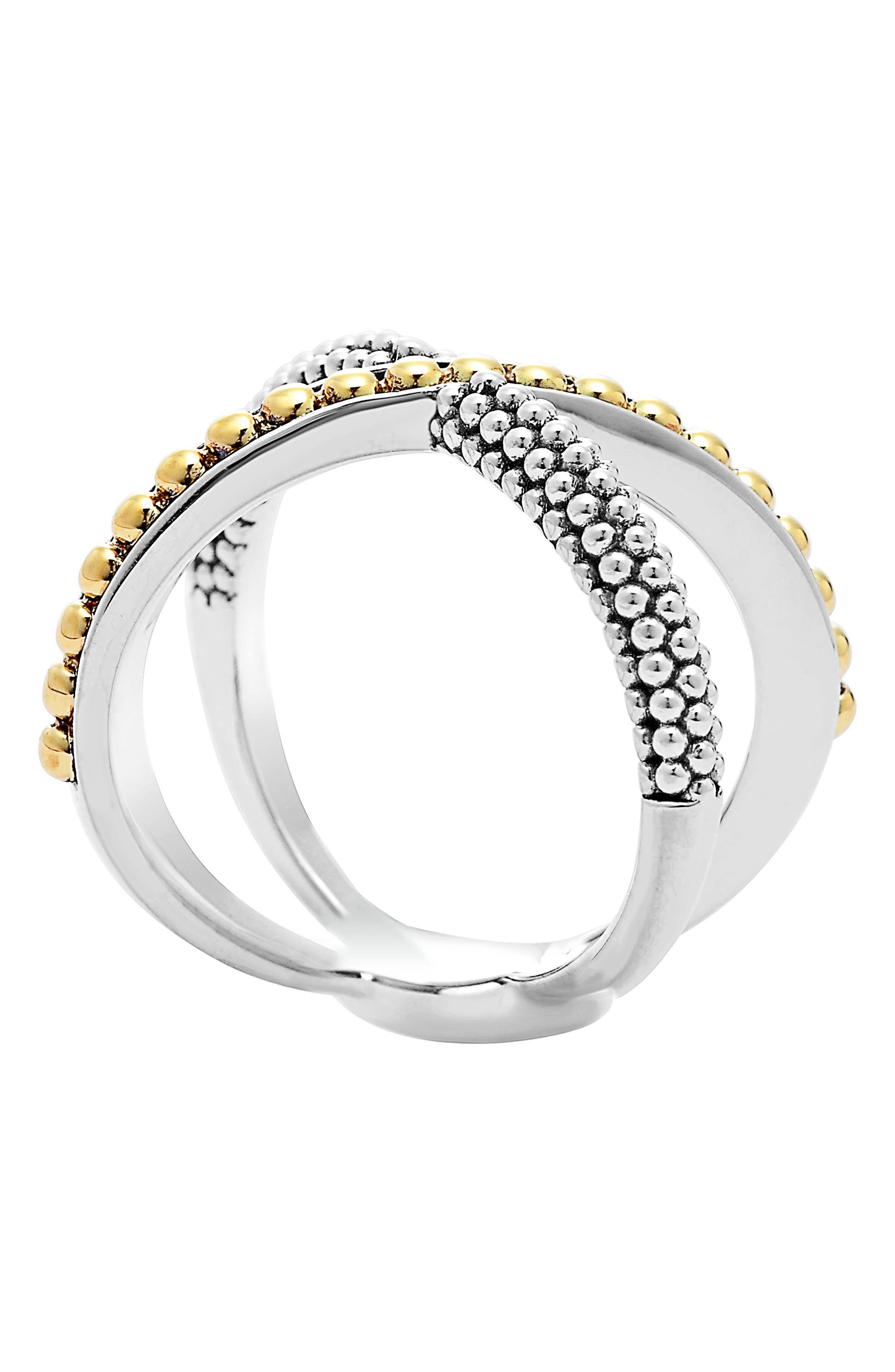 'Enso' Caviar Crossover Ring,                             Alternate thumbnail 2, color,                             SILVER/ GOLD