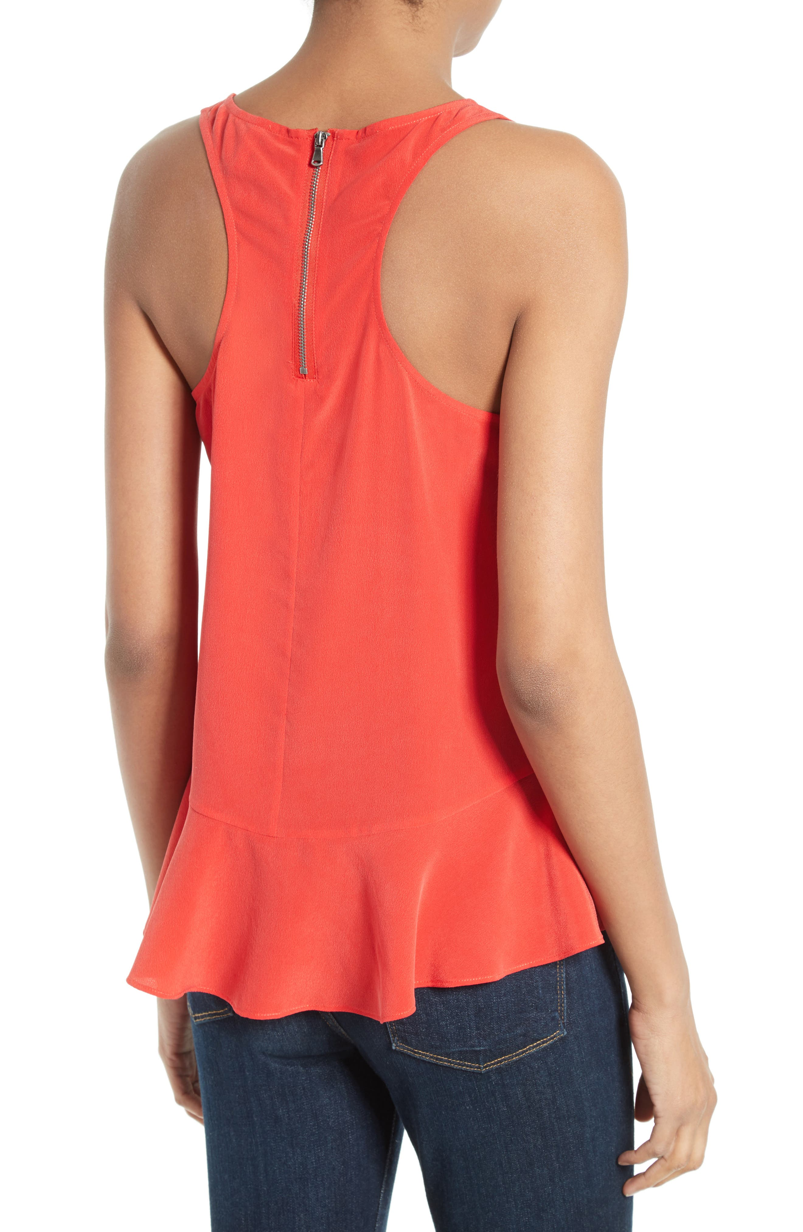 Cosma Silk Flounce Hem Tank,                             Alternate thumbnail 3, color,