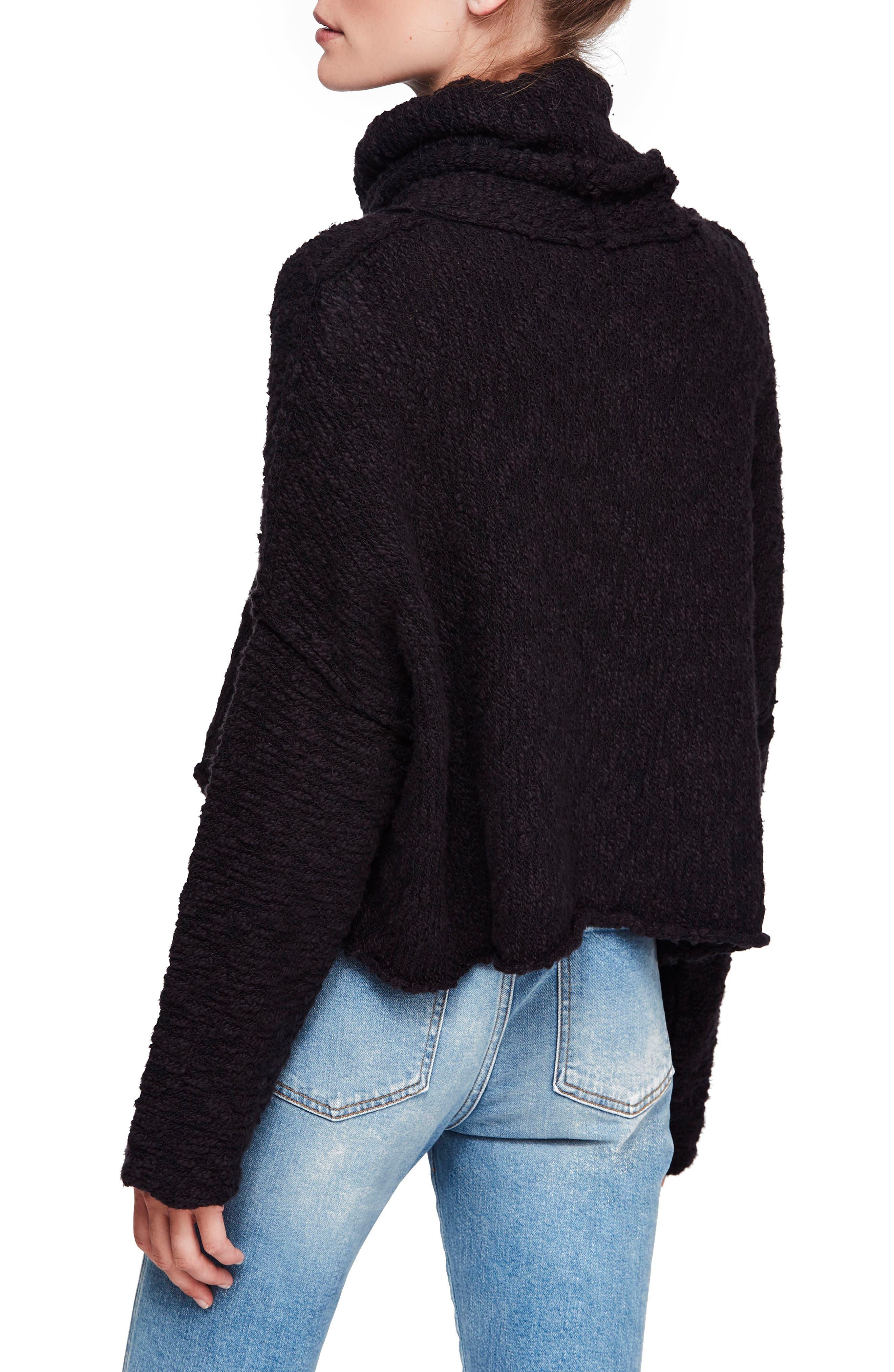 Big Easy Cowl Neck Crop Sweater,                             Alternate thumbnail 2, color,                             BLACK