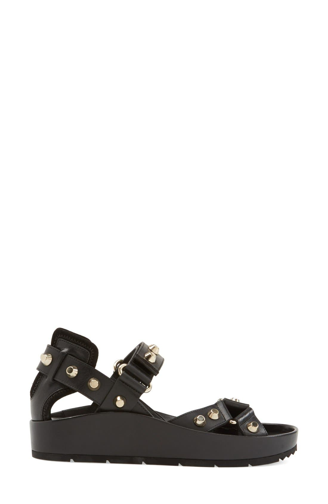 Studded Leather Sandal,                             Alternate thumbnail 3, color,                             001