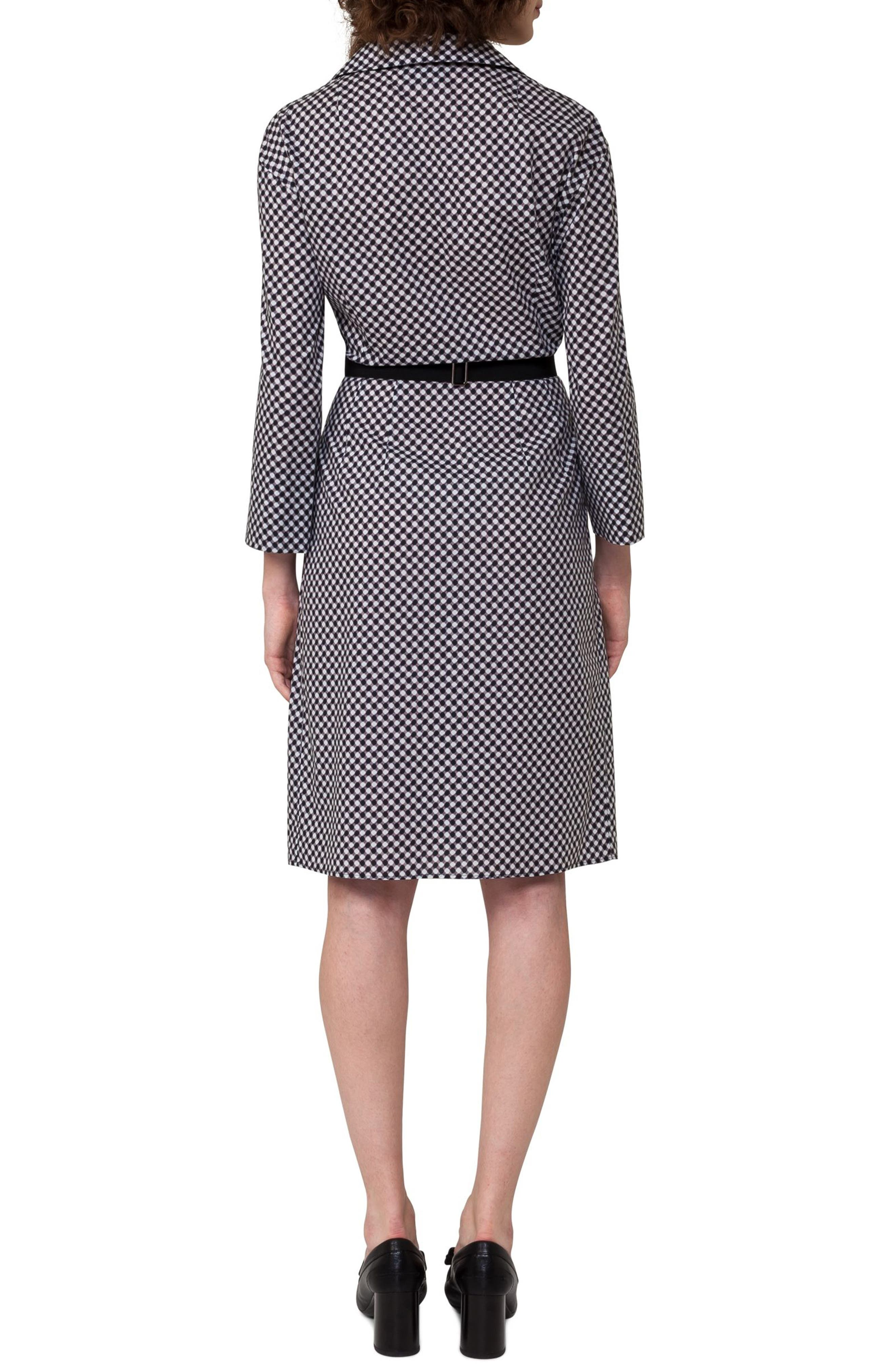 Belted Check Cotton Dress,                             Alternate thumbnail 2, color,                             019