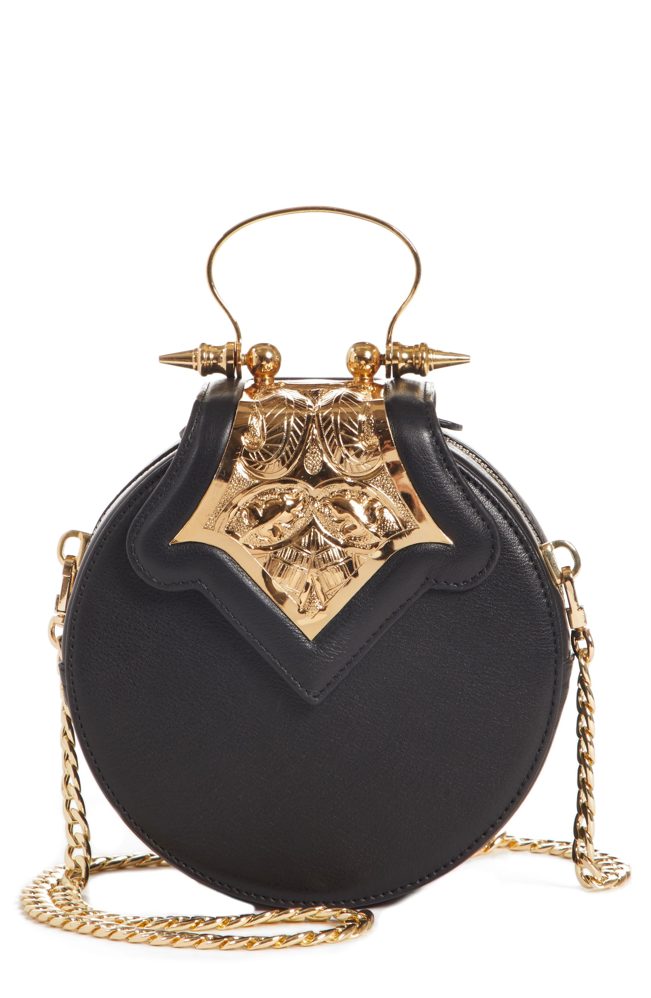 OKHTEIN,                             Mini Dome Crossbody Clutch,                             Main thumbnail 1, color,                             BLACK X GOLD