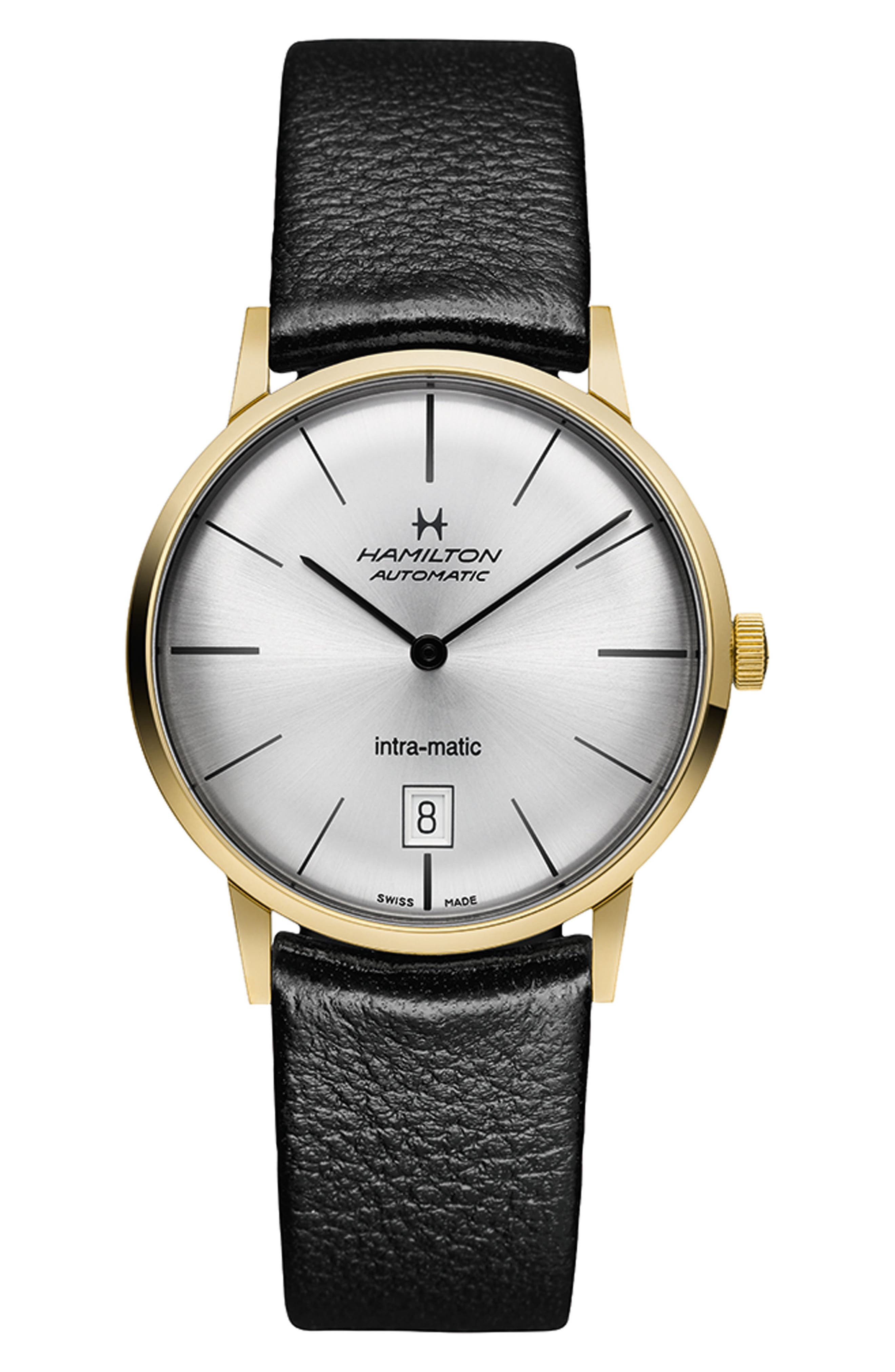 American Classic Intra-Matic Automatic Leather Strap Watch, 38mm,                             Main thumbnail 1, color,                             BLACK/ SILVER/ GOLD