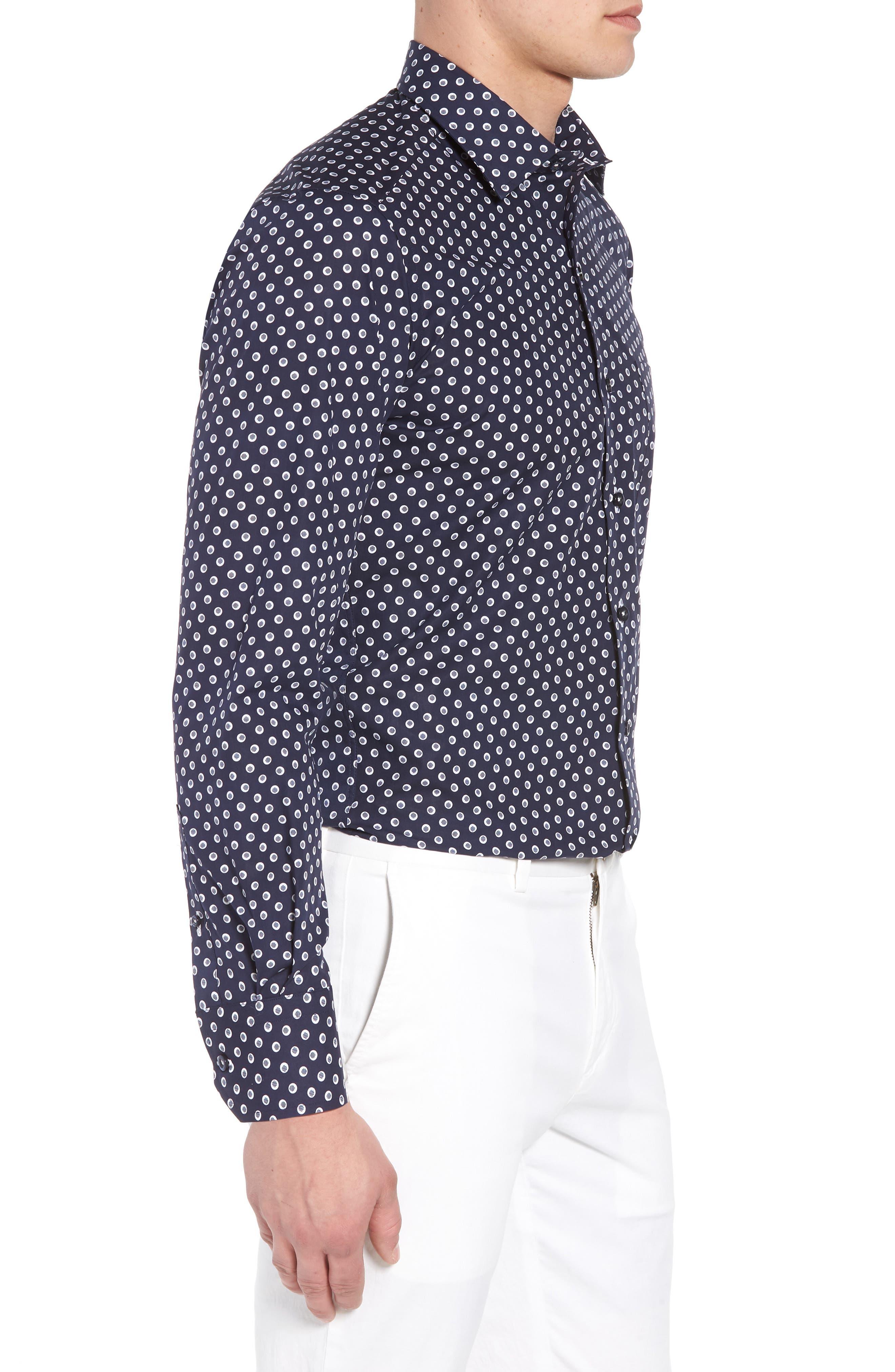Regular Fit Dot Print Sport Shirt,                             Alternate thumbnail 3, color,                             NAVY/ WHITE