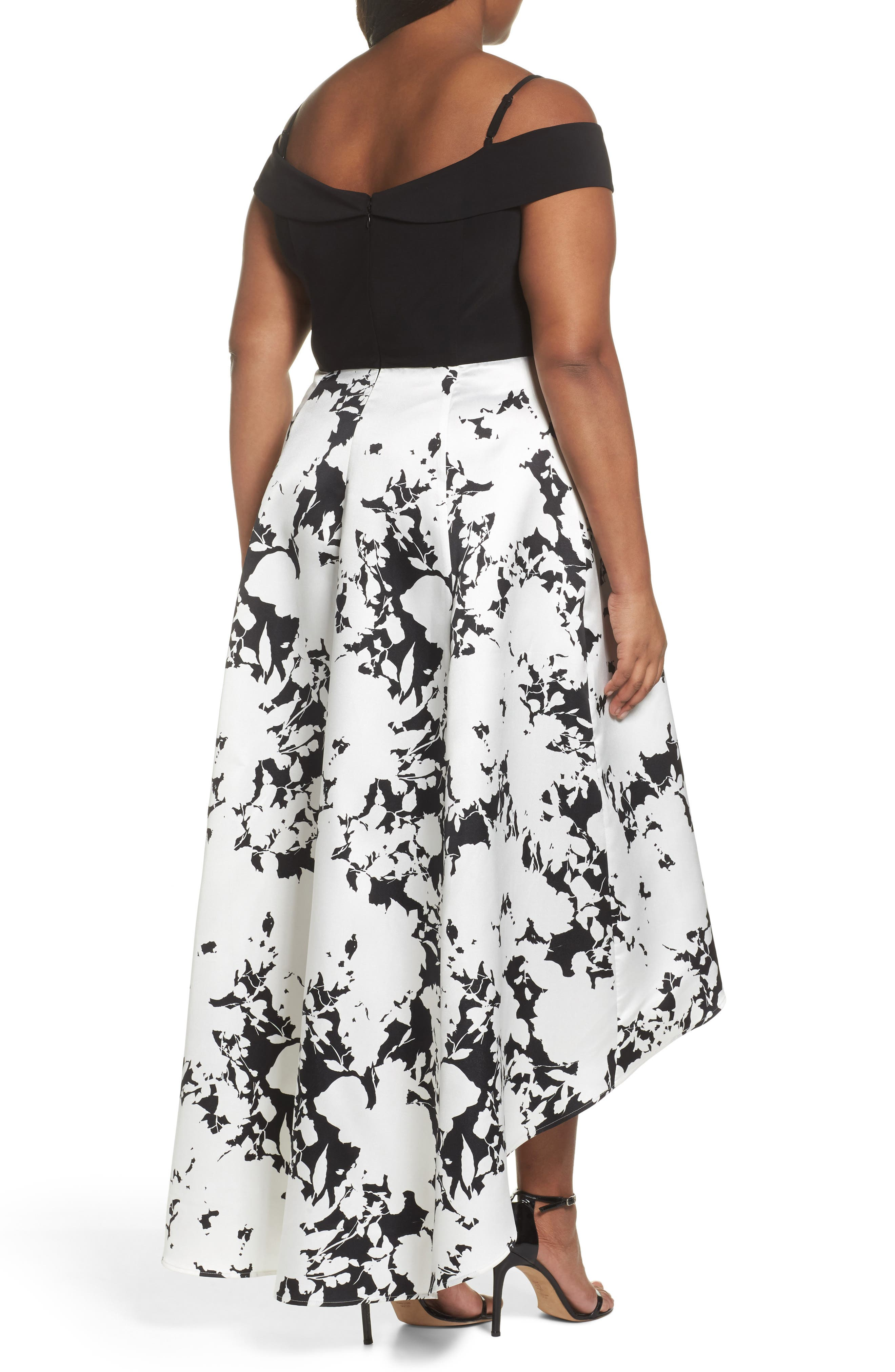 Off the Shoulder Print High/Low Gown,                             Alternate thumbnail 2, color,                             001