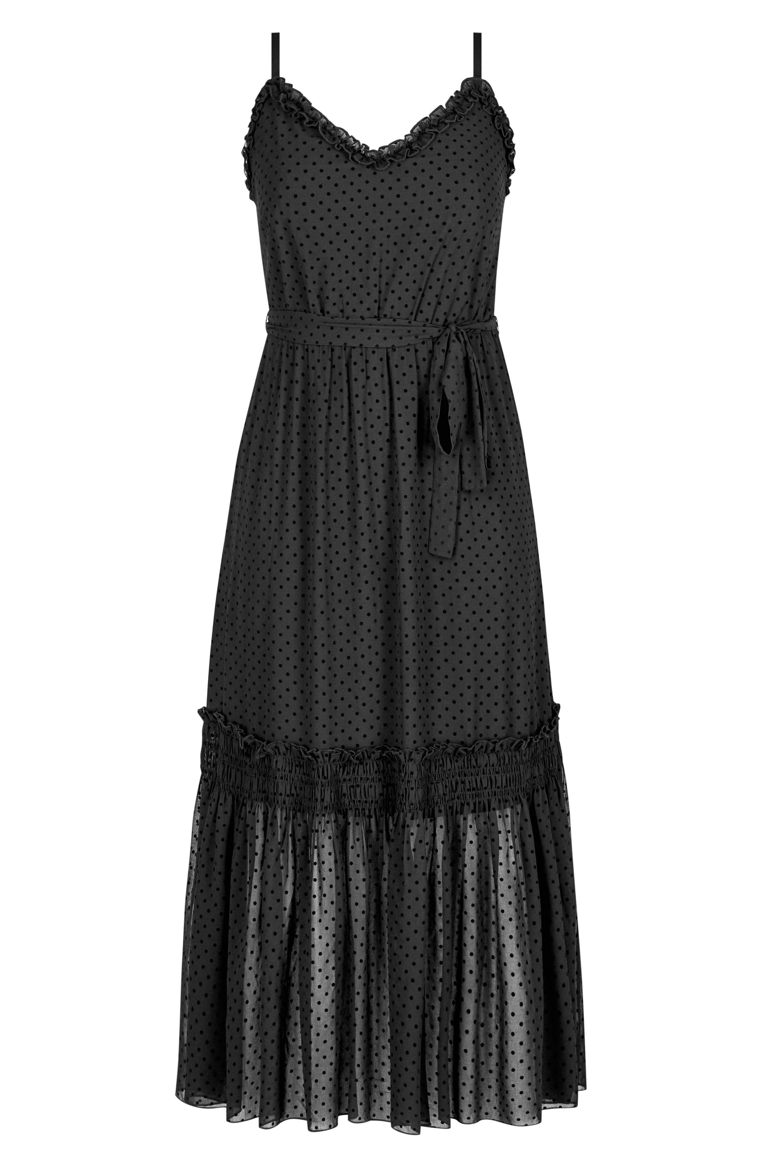 Flocked Spot Maxi Dress,                             Alternate thumbnail 3, color,                             BLACK SPOT