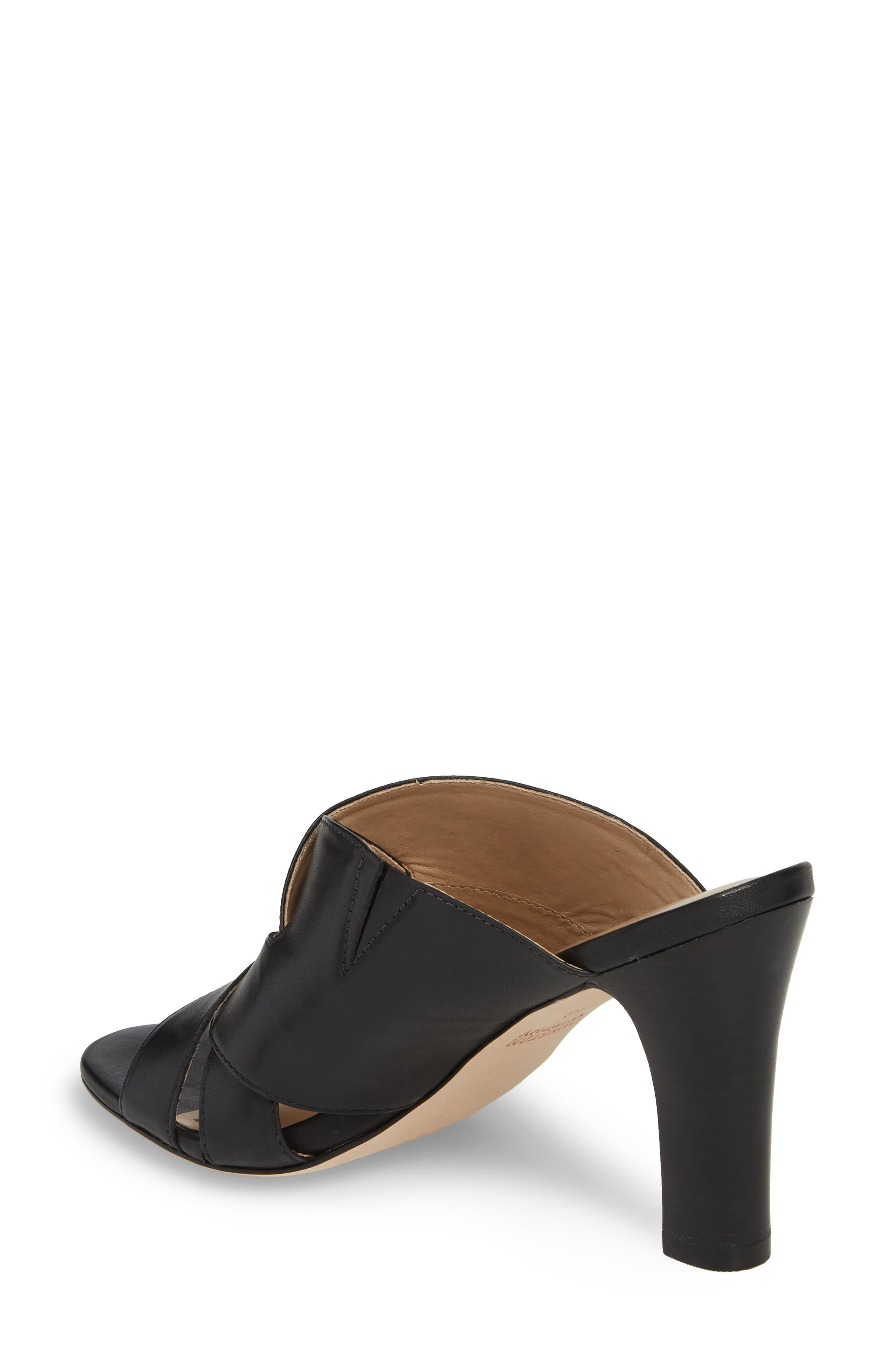 Carrie Mule Sandal,                             Alternate thumbnail 2, color,                             BLACK LEATHER