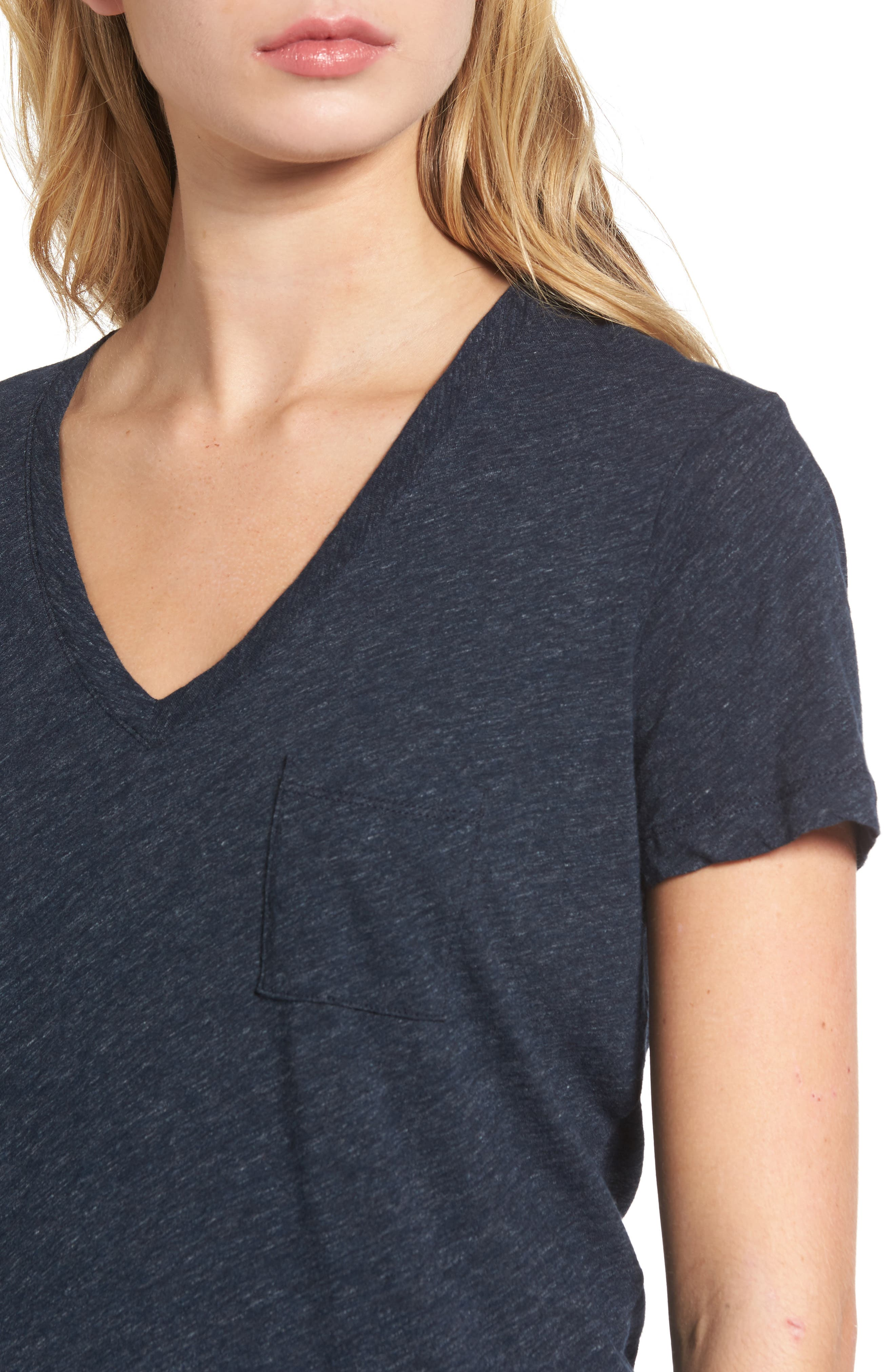 Whisper Cotton V-Neck Pocket Tee,                             Alternate thumbnail 175, color,
