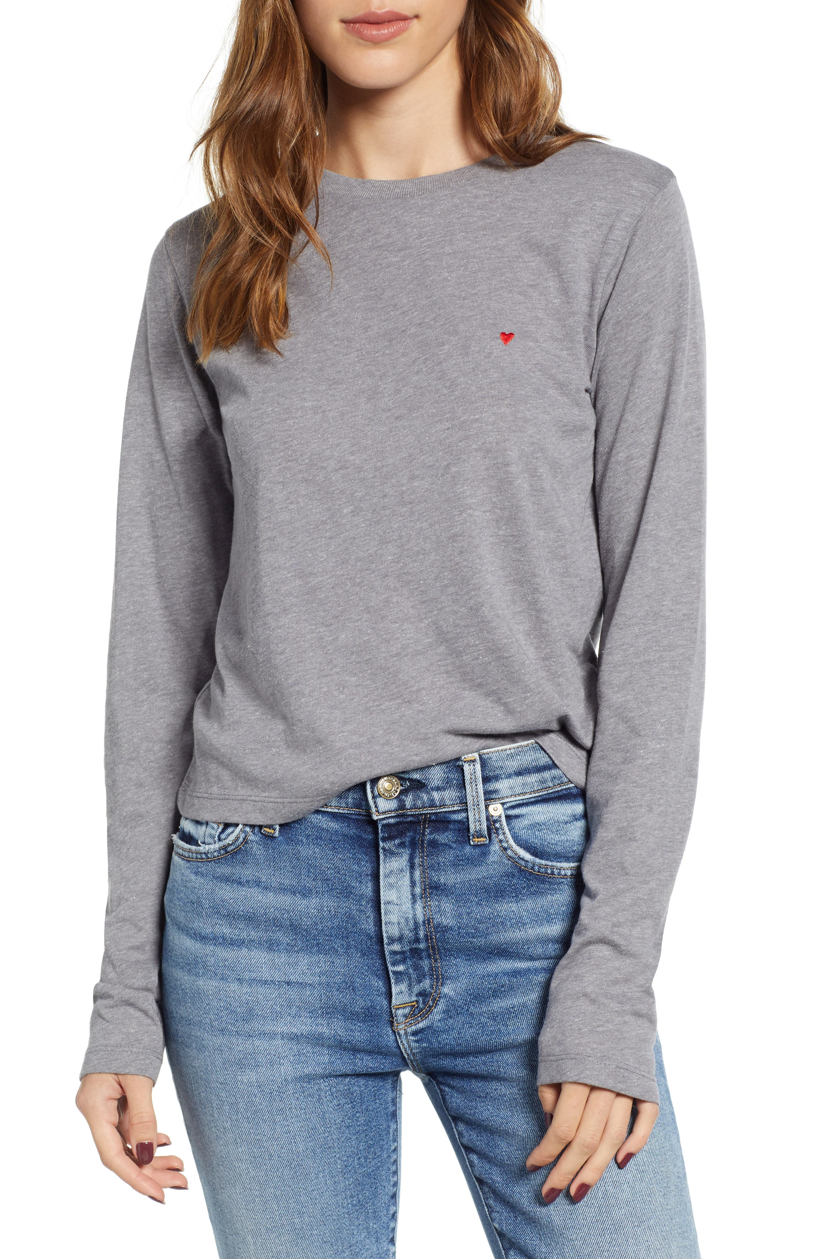 SUB_URBAN RIOT Embroidered Heart Tee in Heather Grey