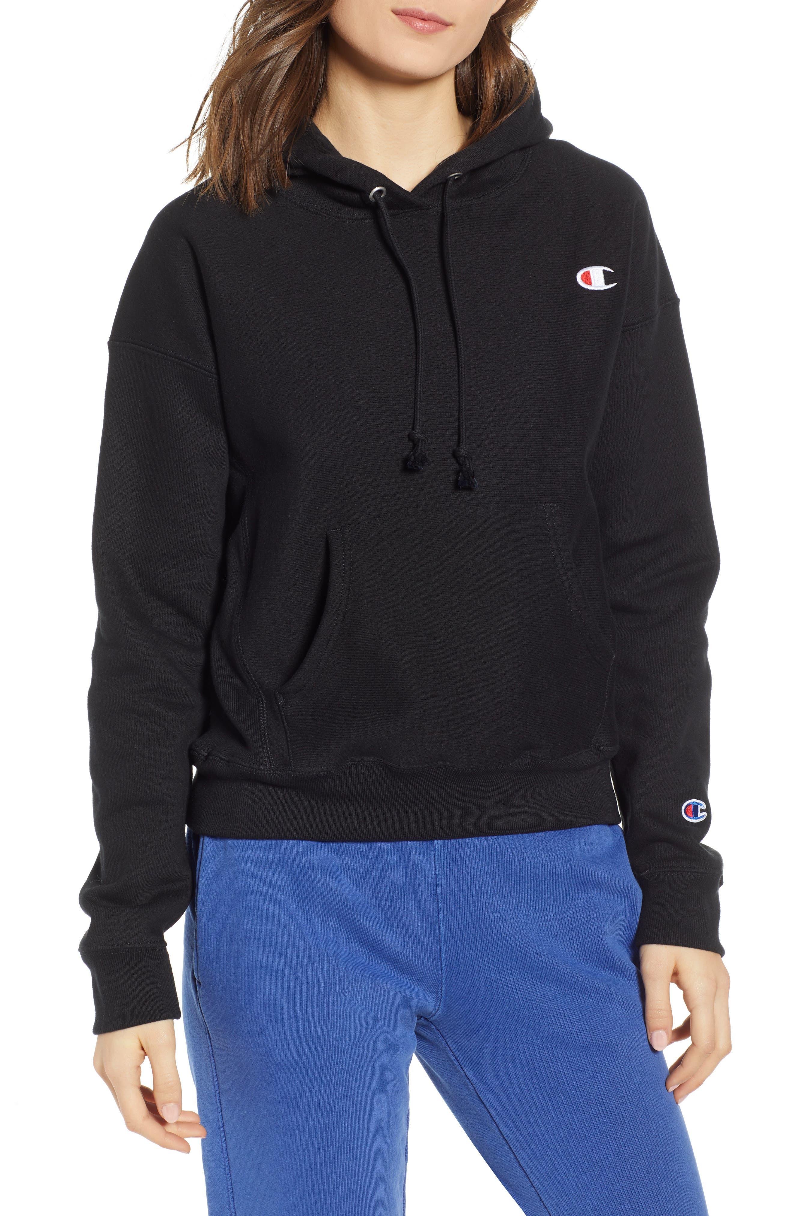 Reverse Weave Hoodie,                         Main,                         color, BLACK
