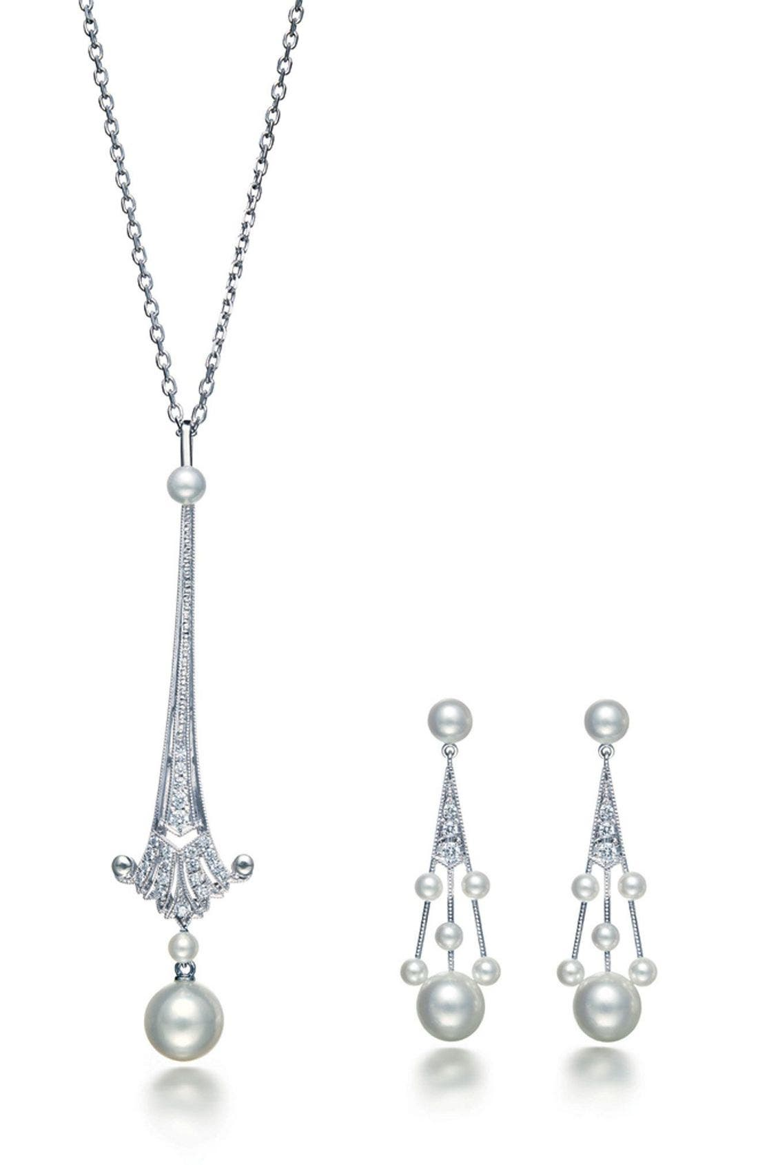 'Legacy Collection' Akoya Cultured Pearl & Diamond Earrings,                             Alternate thumbnail 3, color,                             PEARL/ DIAMOND