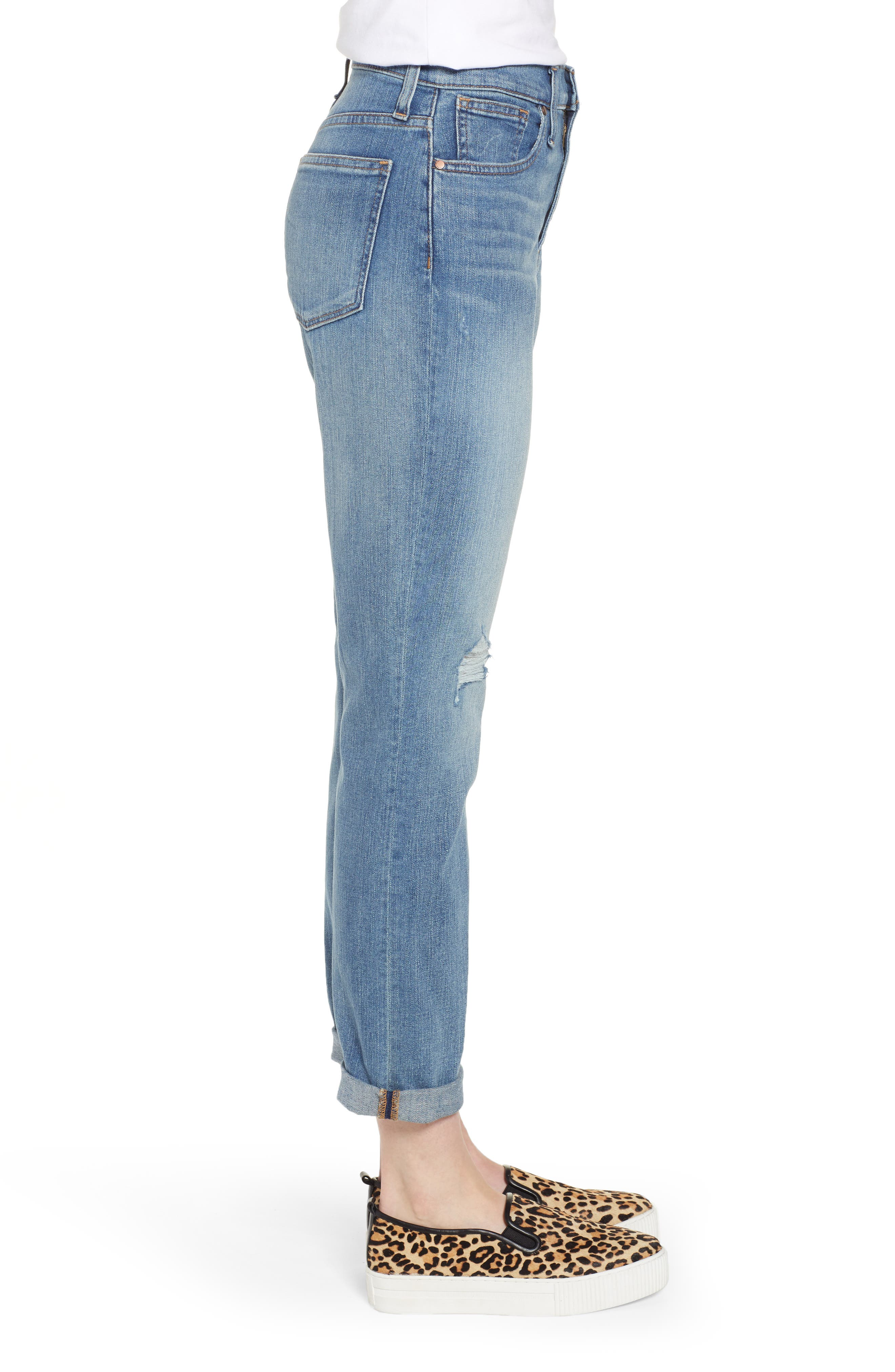 CASLON<SUP>®</SUP>,                             Arden Ripped High Waist Boyfriend Jeans,                             Alternate thumbnail 4, color,                             420