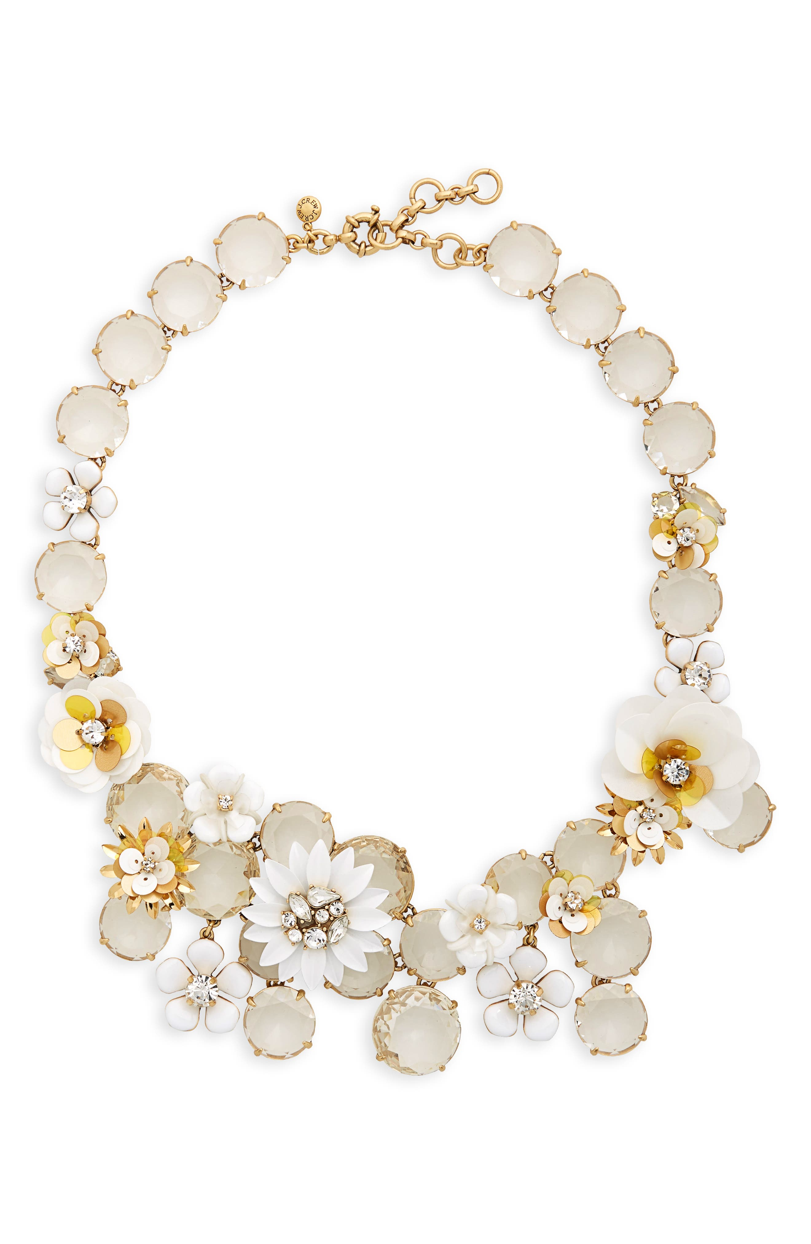 Flower Statement Necklace,                             Main thumbnail 1, color,                             WHITE