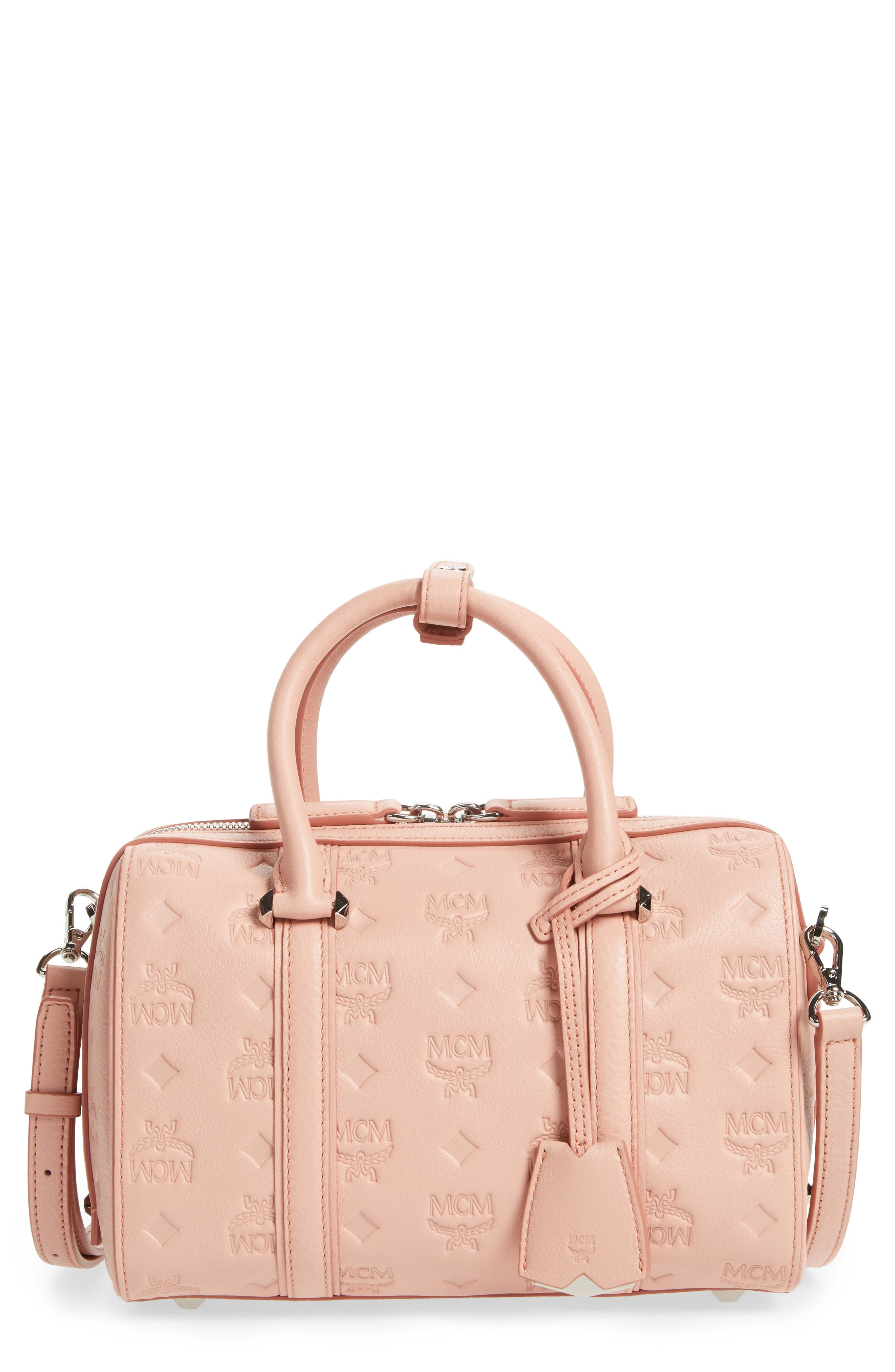 Small Boston Monogram Leather Satchel,                             Main thumbnail 1, color,                             674