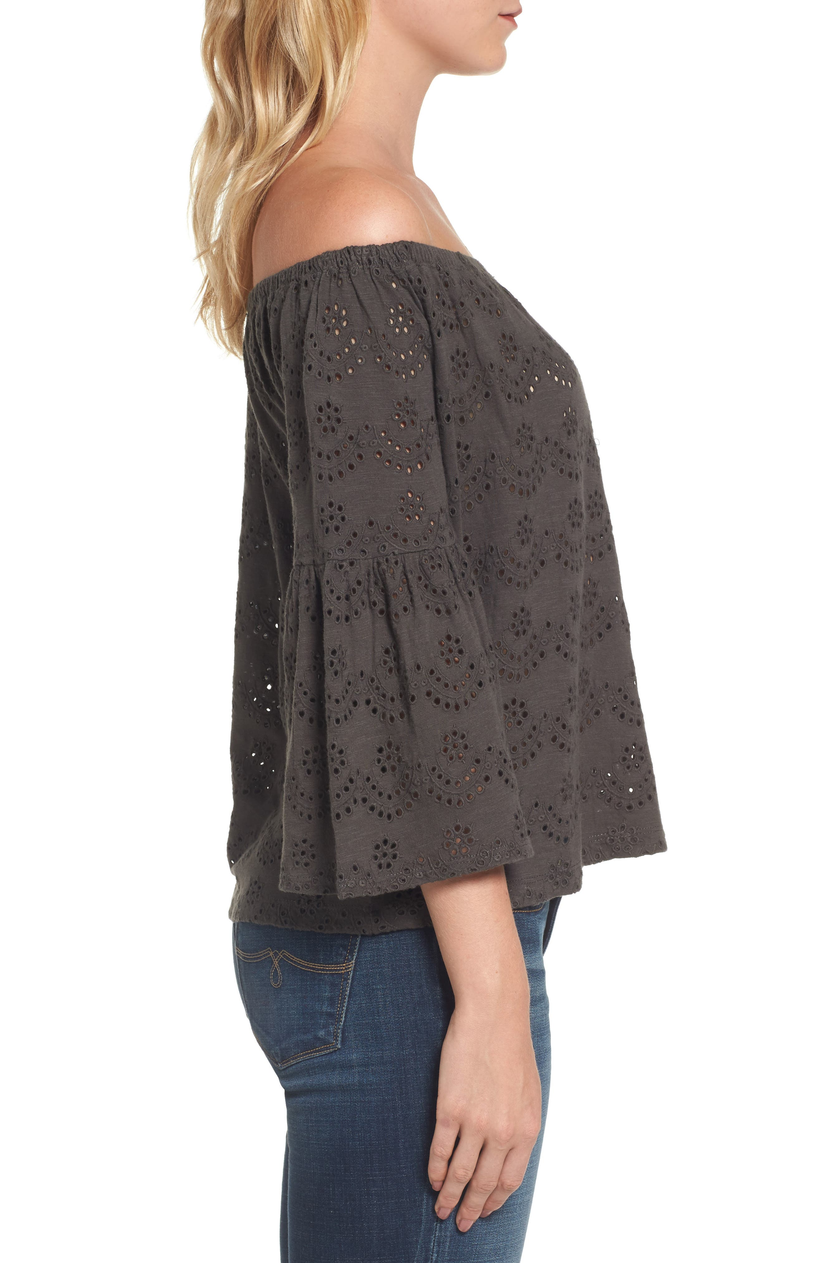 Eyelet Off the Shoulder Blouse,                             Alternate thumbnail 3, color,                             002