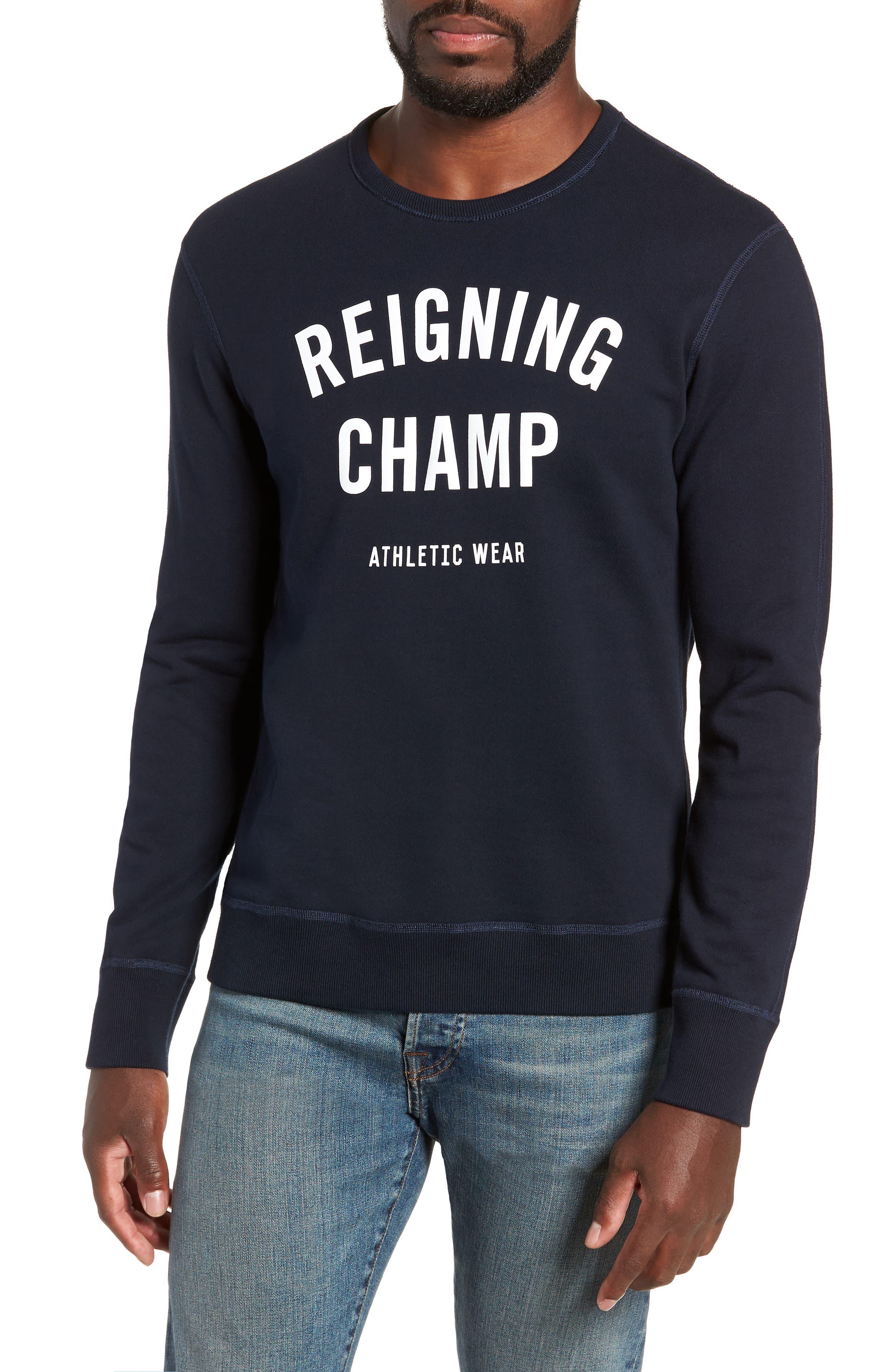 REIGNING CHAMP Gym Logo Sweatshirt in Navy/ White