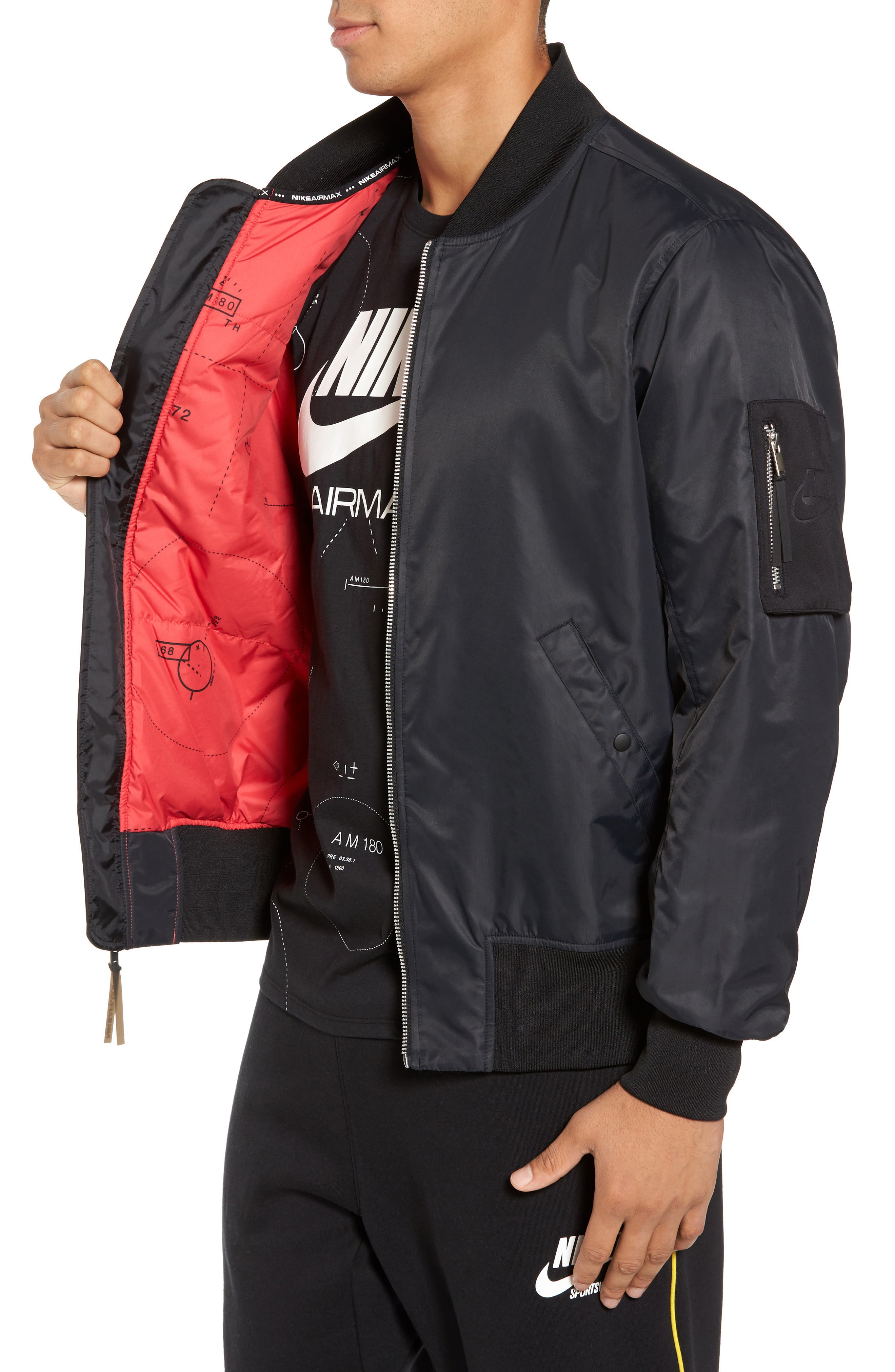 NSW Air Max Woven Bomber Jacket,                             Alternate thumbnail 3, color,                             010