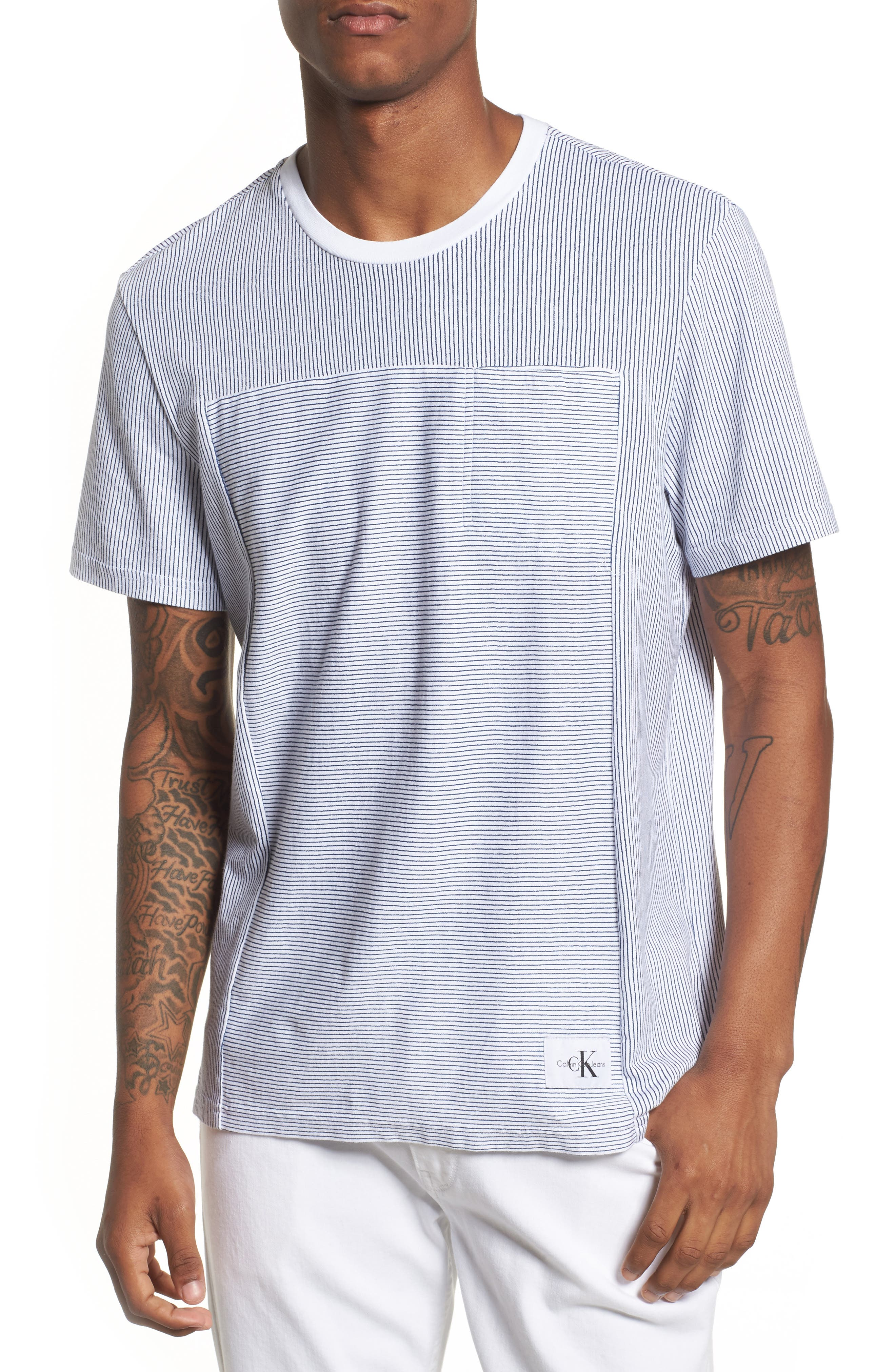 Pinstripe Pocket T-Shirt,                             Main thumbnail 1, color,