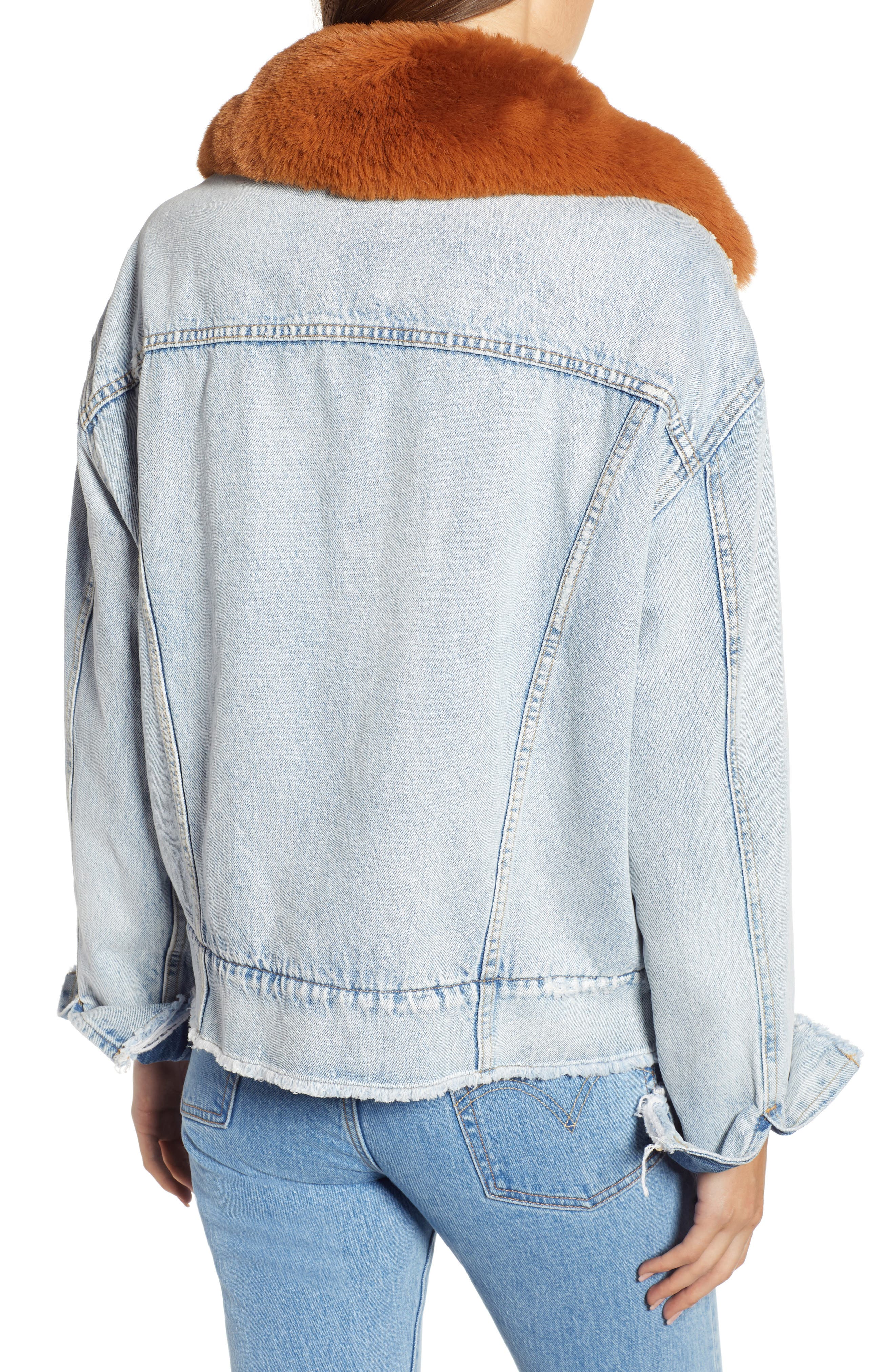 Oversize Faux Shearling Lined Denim Trucker Jacket with Removable Faux Fur Collar,                             Alternate thumbnail 2, color,                             401
