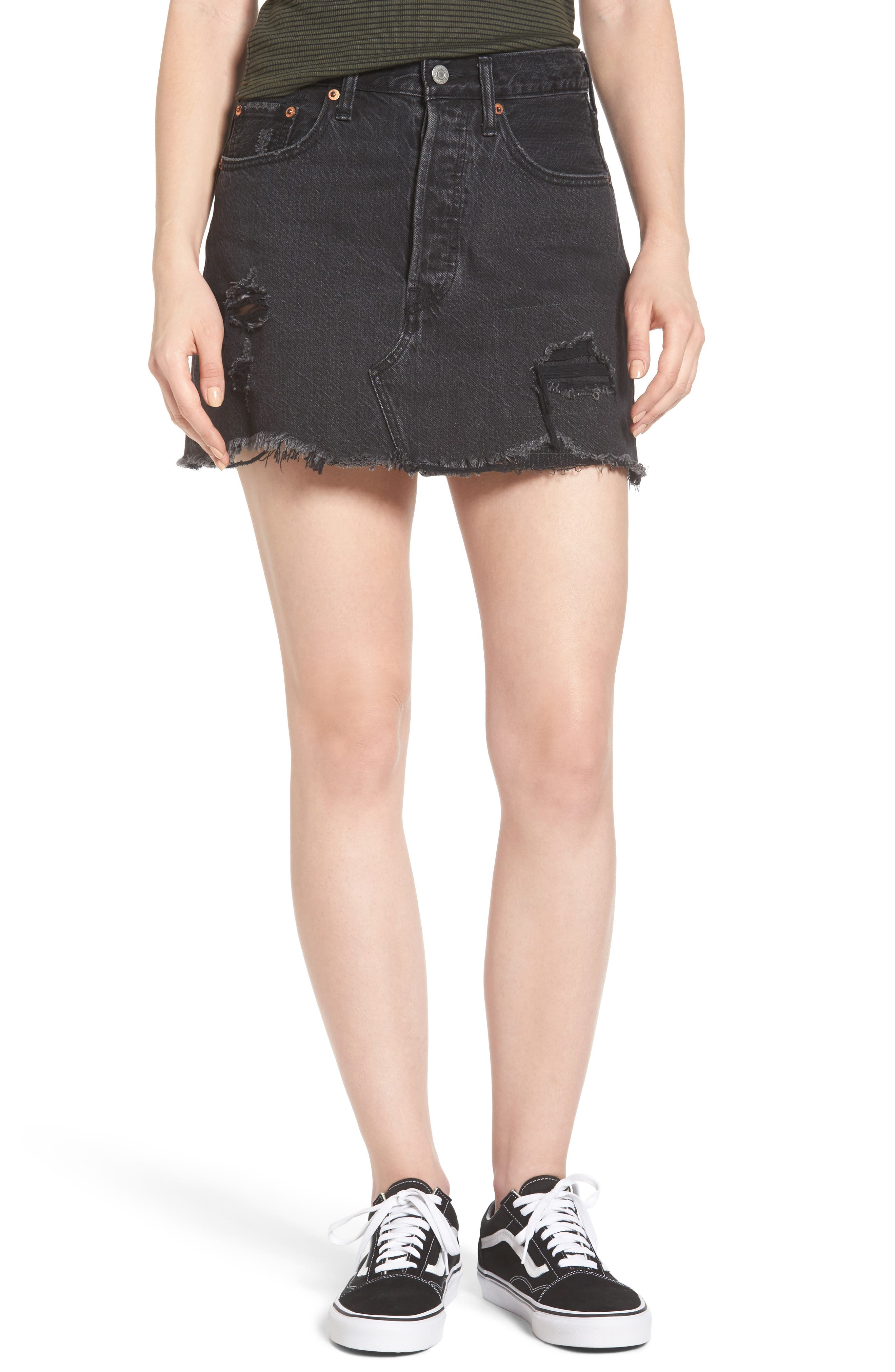 Deconstructed Denim Skirt,                         Main,                         color, 001