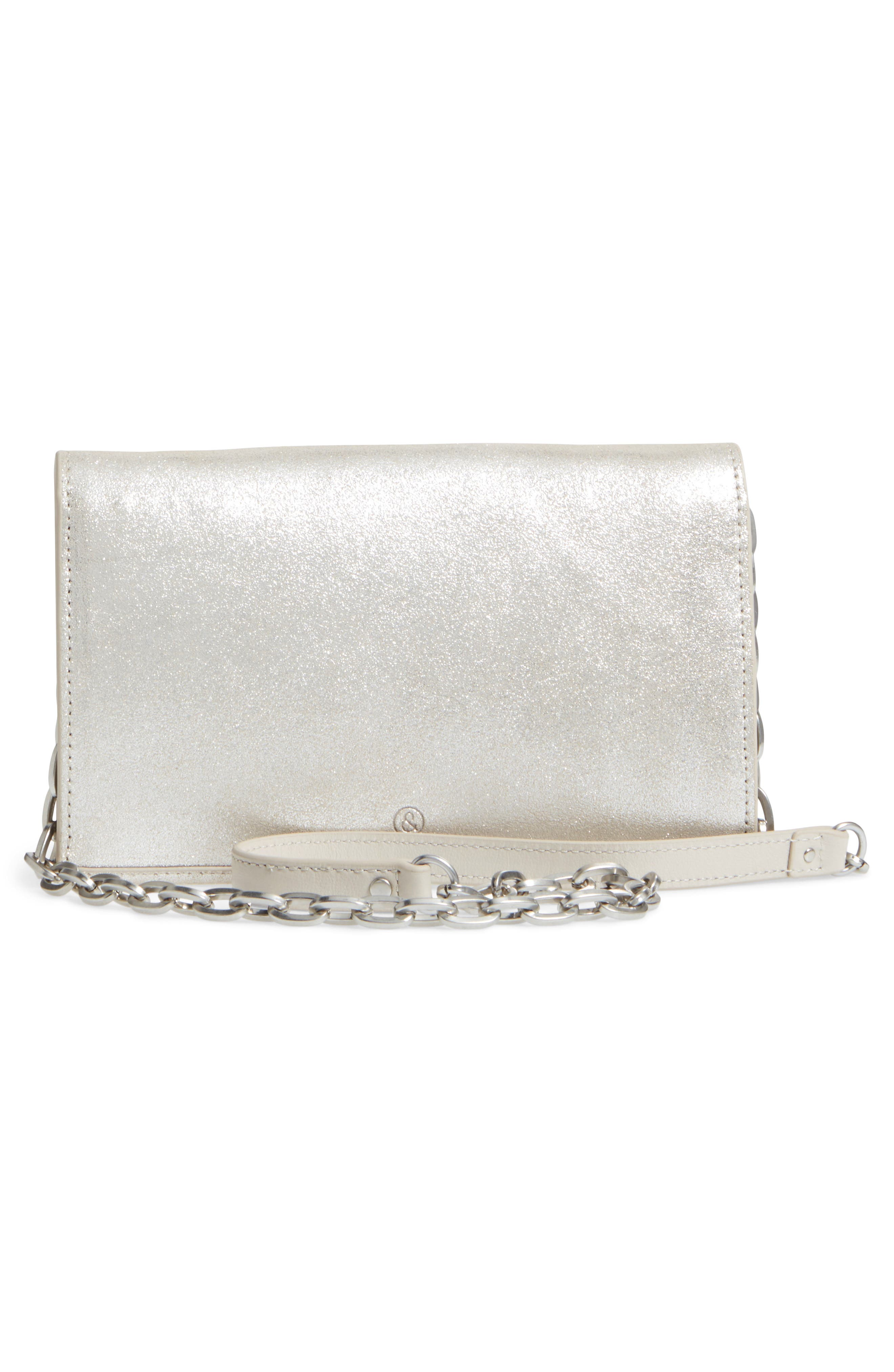 Avery Metallic Leather Wallet on a Chain,                             Alternate thumbnail 3, color,                             040