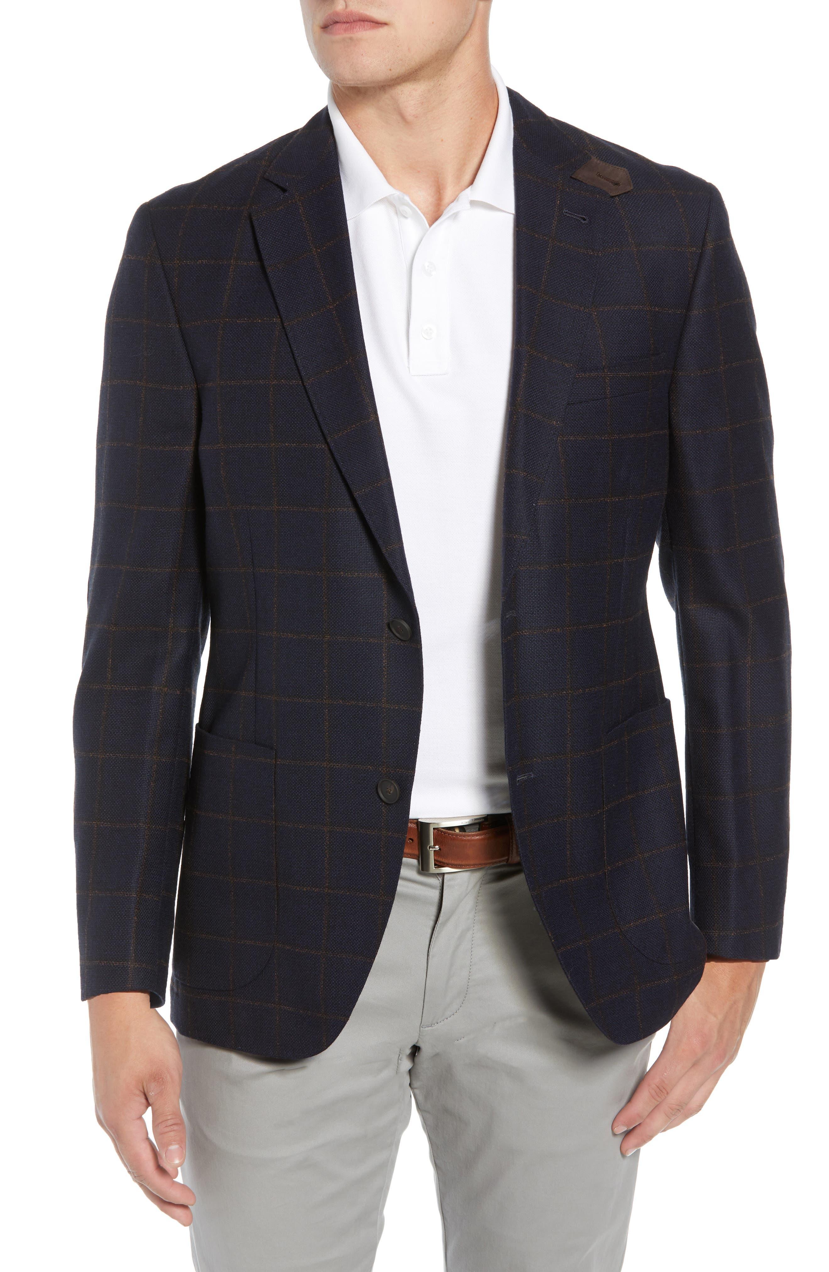 Edge 2 Classic Fit Windowpane Wool Sport Coat,                             Main thumbnail 1, color,                             410