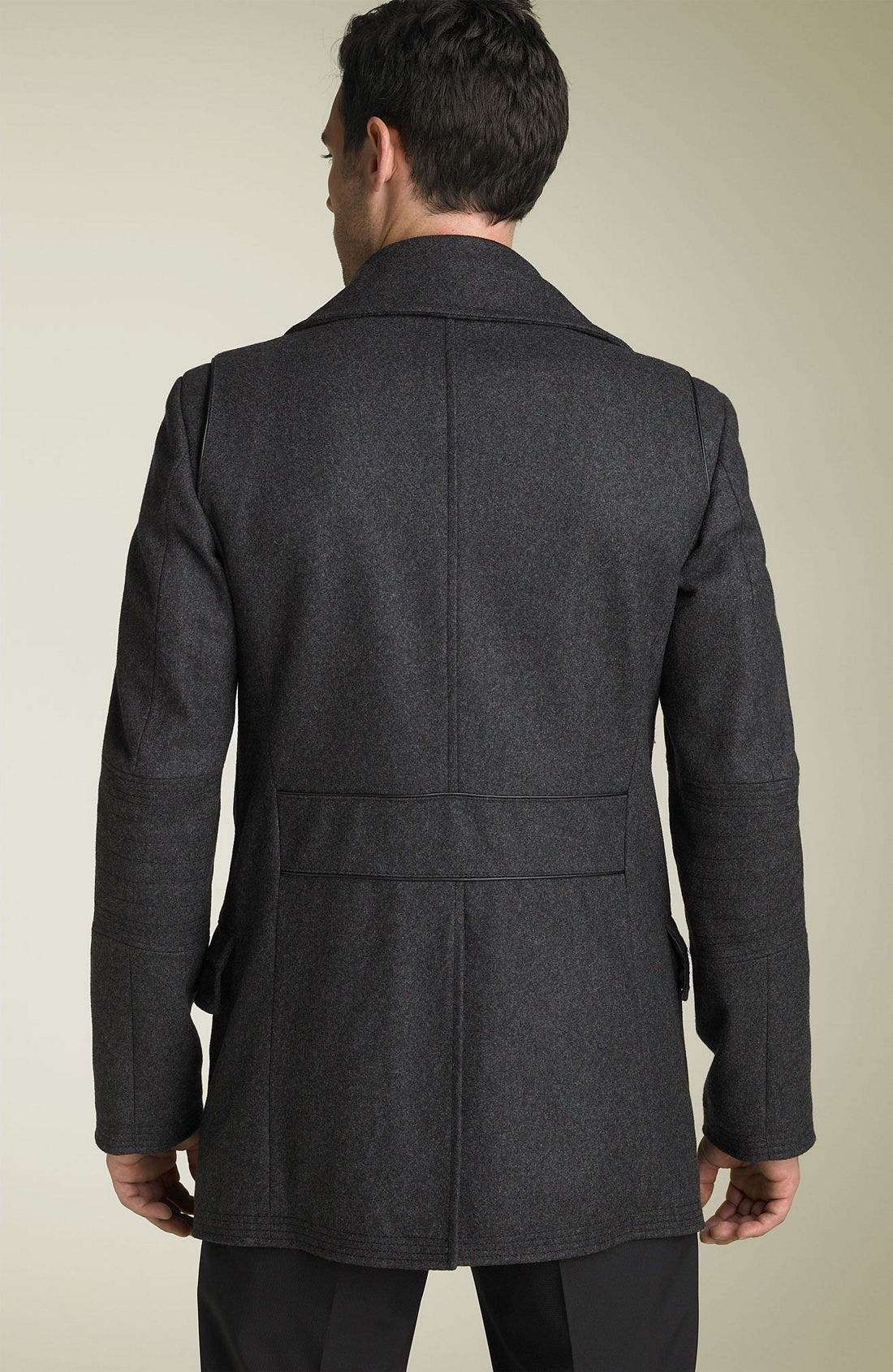 VERSACE,                             Collection Wool Peacoat,                             Alternate thumbnail 2, color,                             020