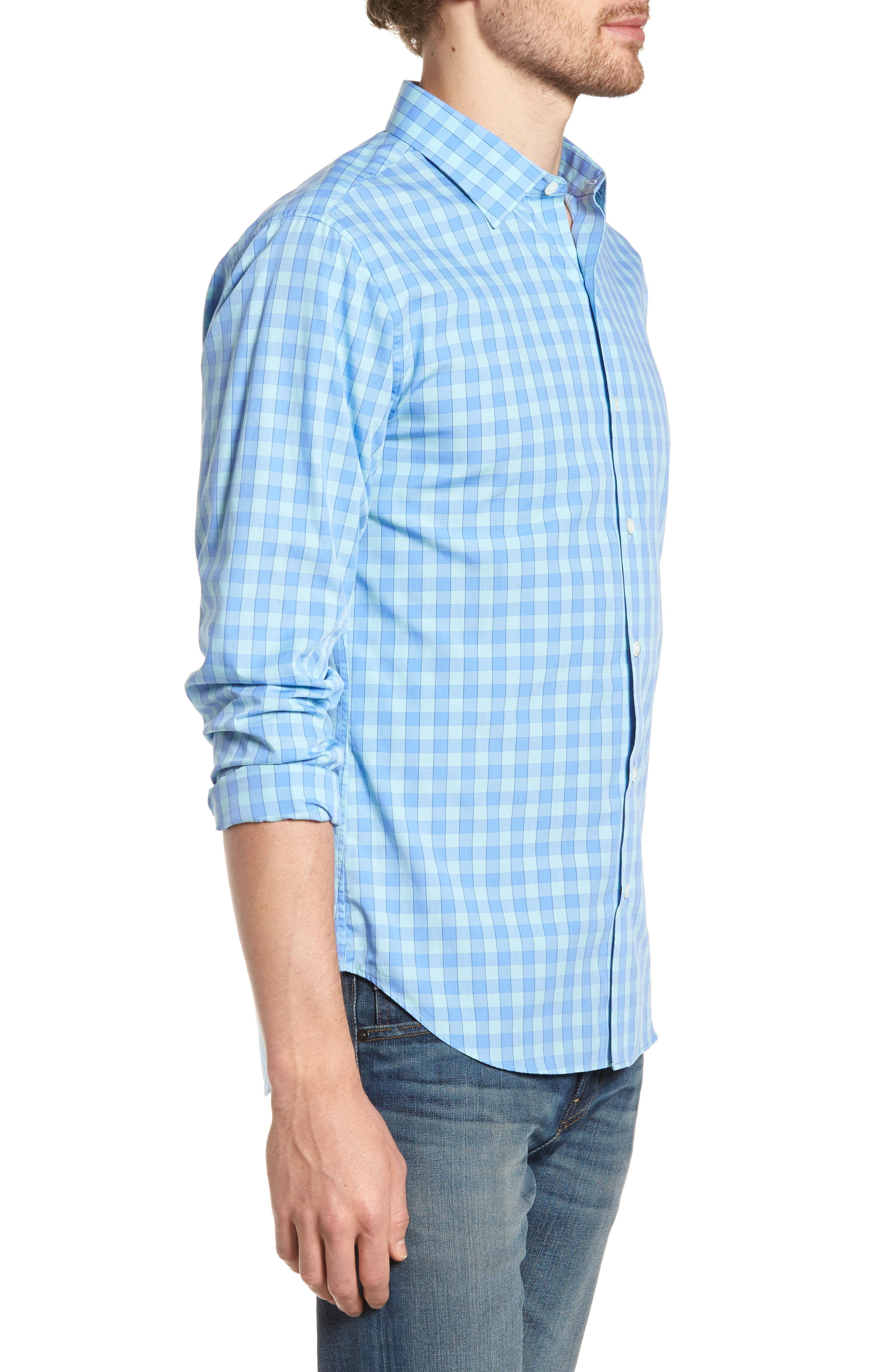 Unbutton Down 2.0 Slim Fit Gingham Sport Shirt,                             Alternate thumbnail 3, color,                             400