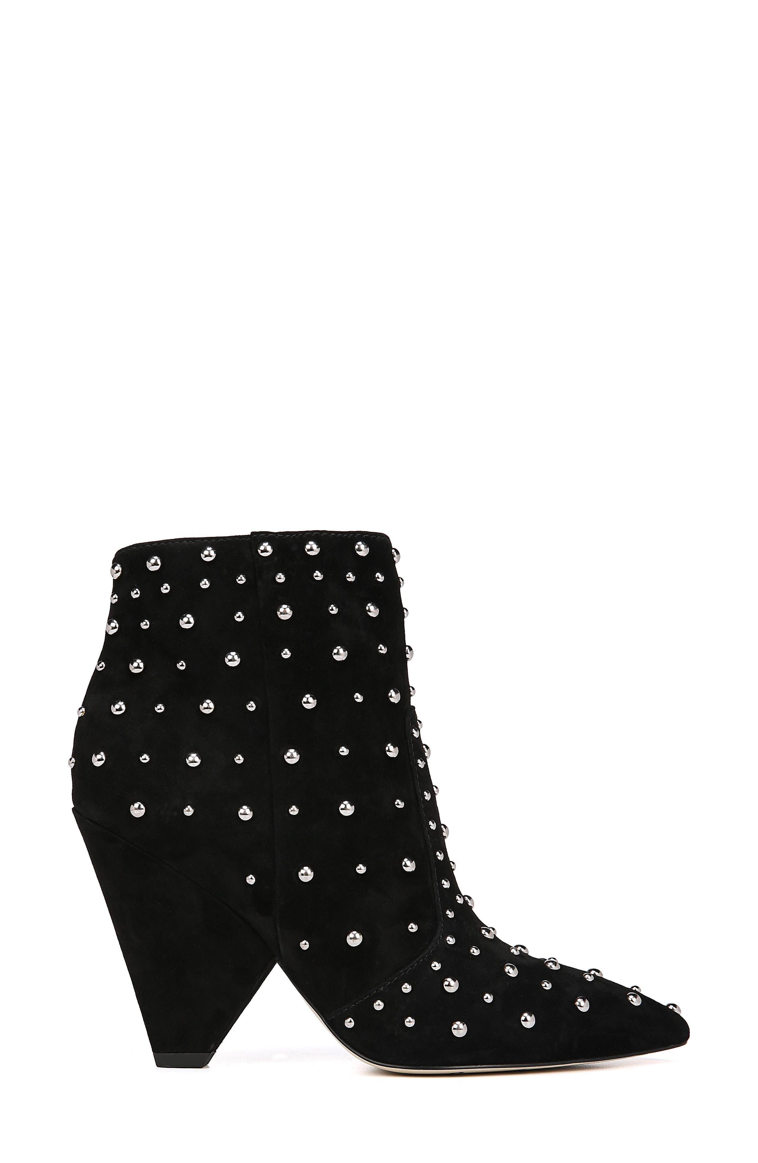Roya Studded Boot,                             Alternate thumbnail 3, color,                             BLACK SUEDE