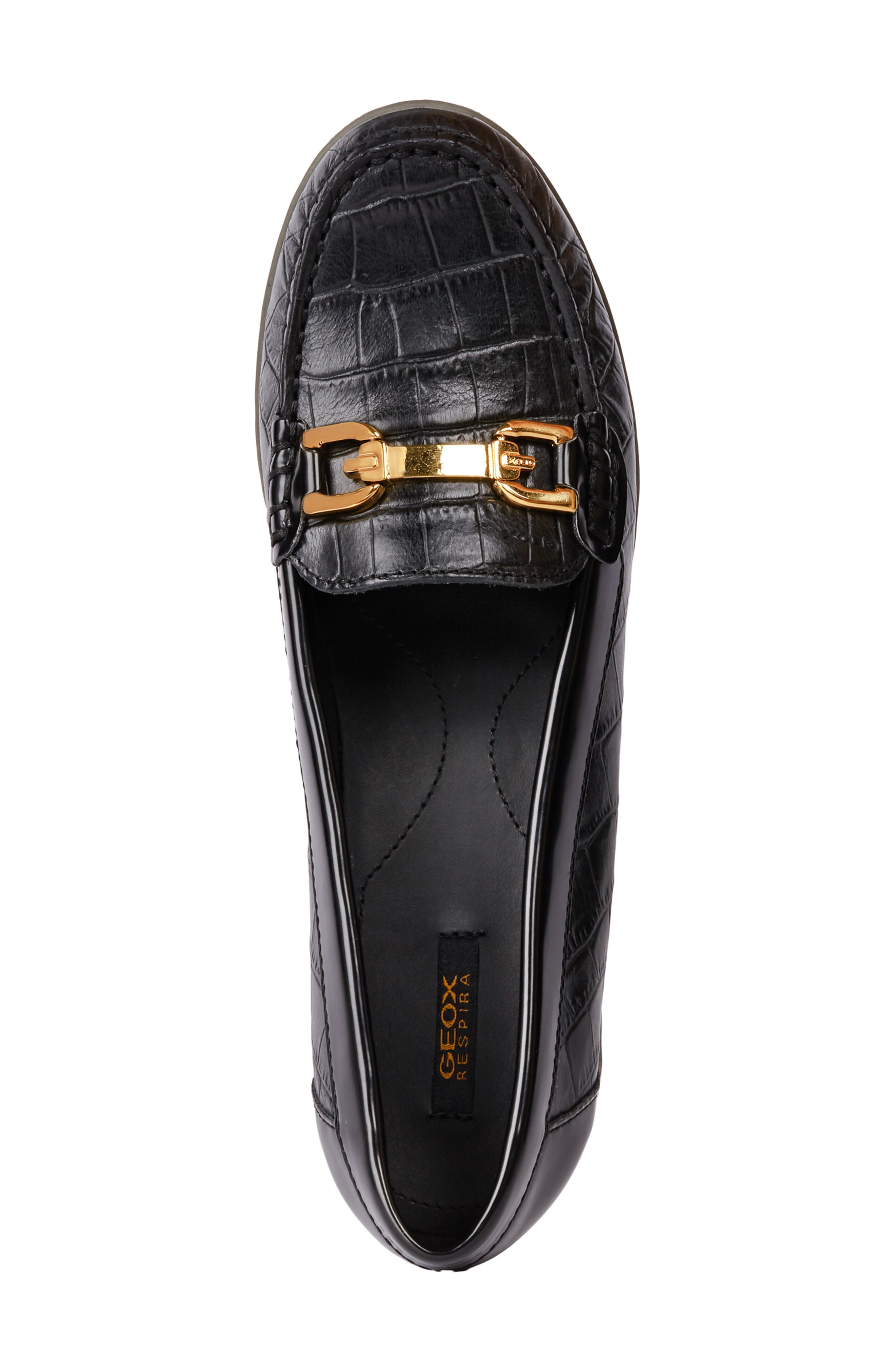 Arethea Loafer Wedge,                             Alternate thumbnail 4, color,                             BLACK LEATHER