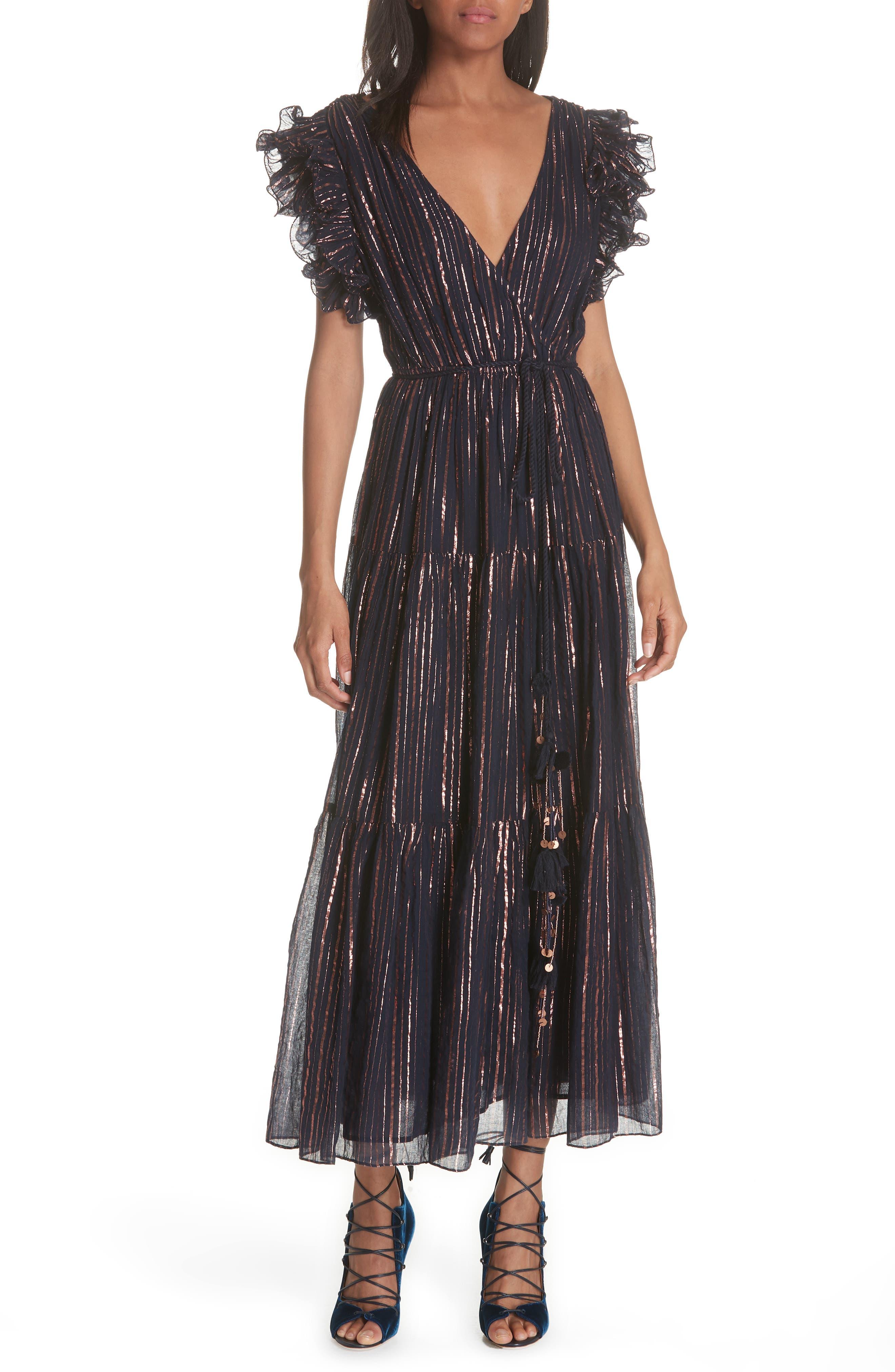 ULLA JOHNSON Liliana Metallic Stripe Dress, Main, color, 400