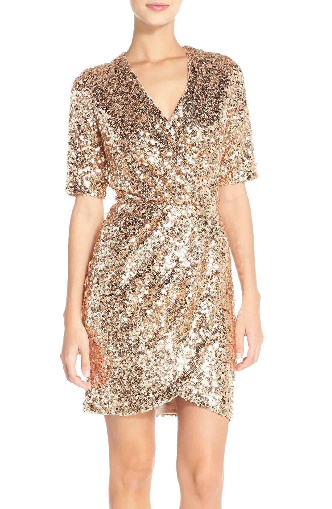 Sequin Mesh Faux Wrap Dress,                             Main thumbnail 2, color,
