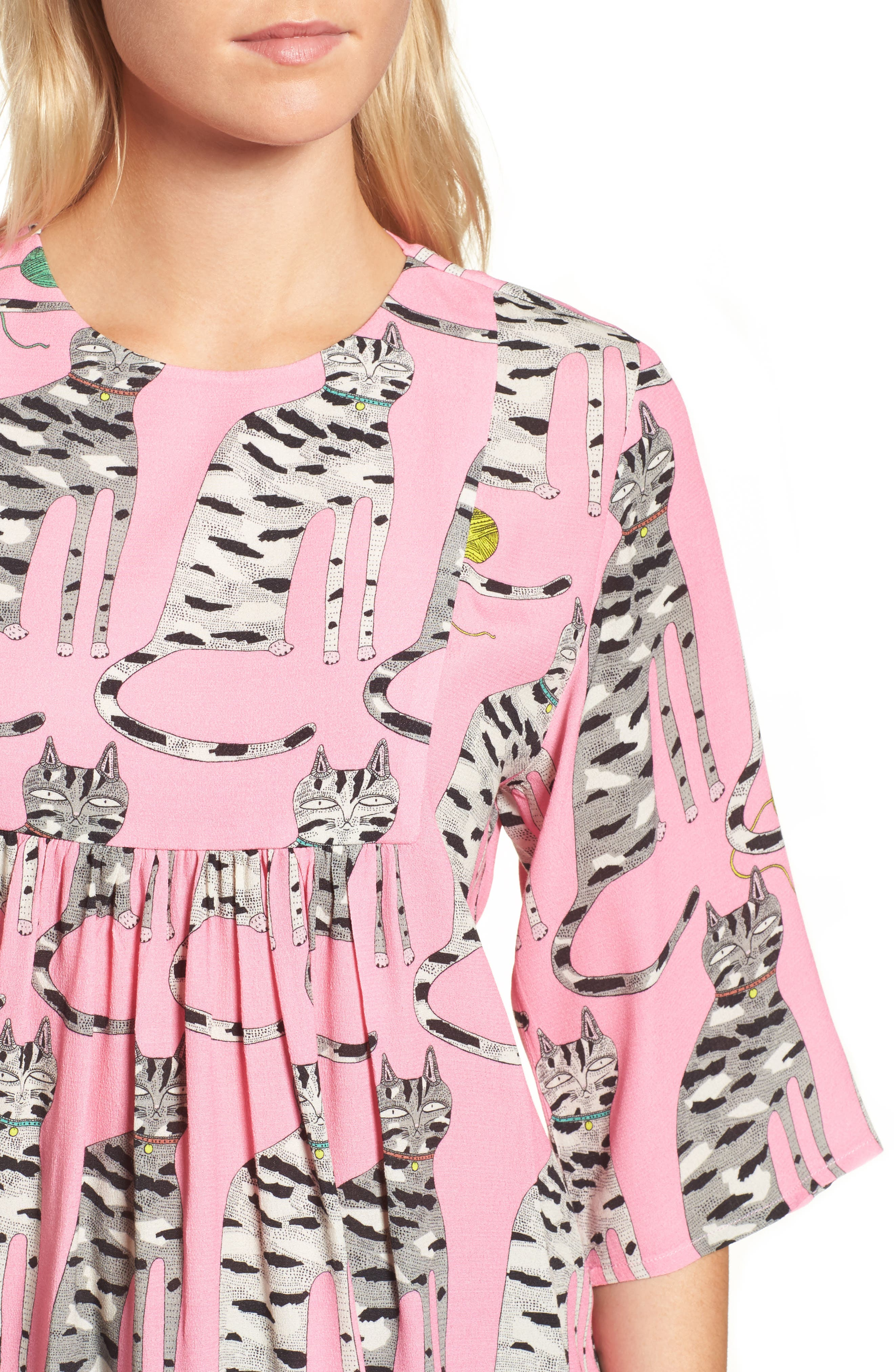 Cat Print Blouse,                             Alternate thumbnail 4, color,                             651