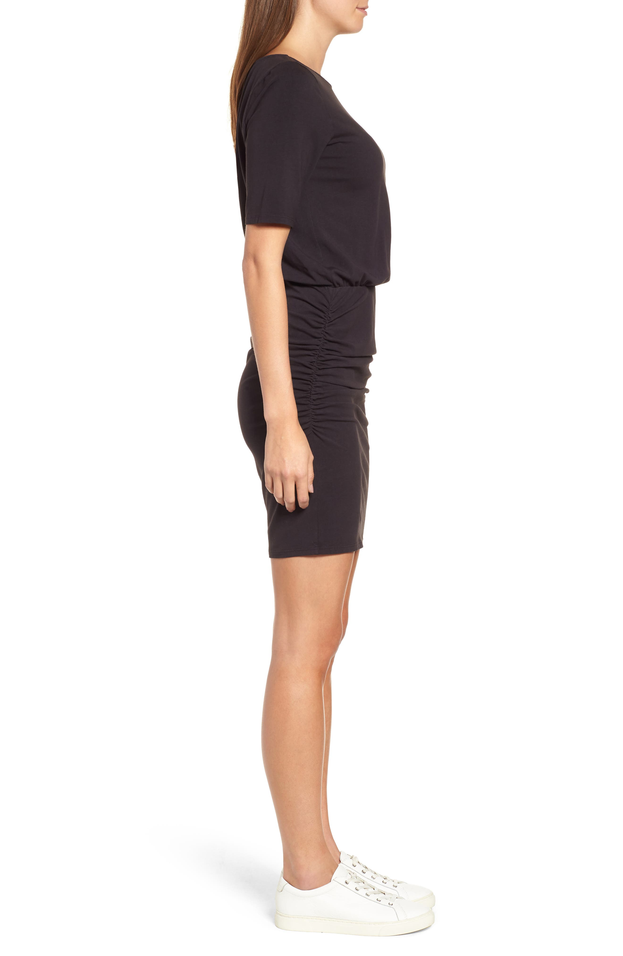 Ruched Body-Con Dress,                             Alternate thumbnail 3, color,                             BLACK