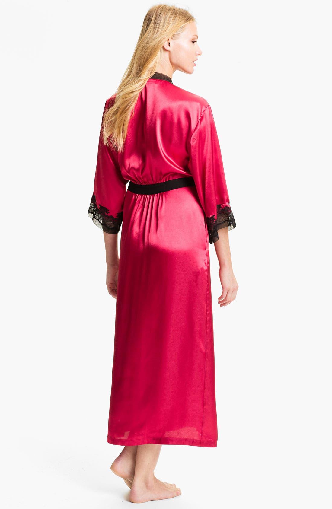 Sleepwear Lace Trim Charmeuse Robe,                             Alternate thumbnail 10, color,