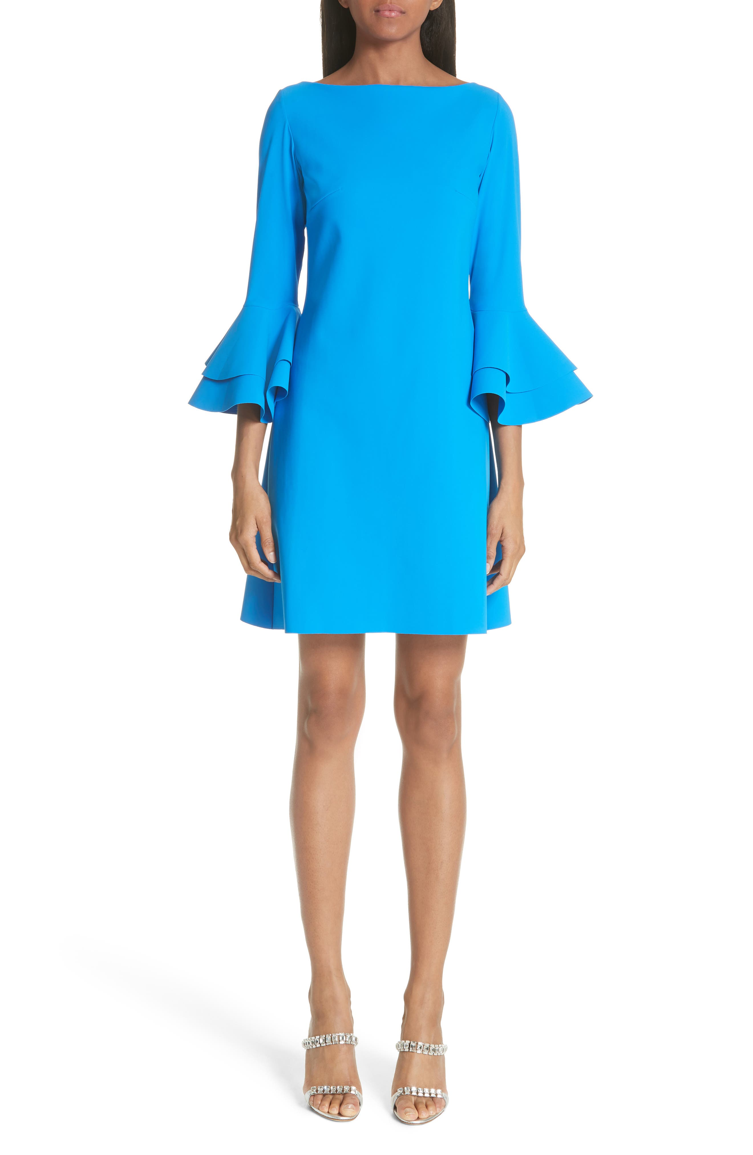 Chiara Boni La Petite Robe Natalia Bell Sleeve Cocktail Dress, US / 40 IT - Blue