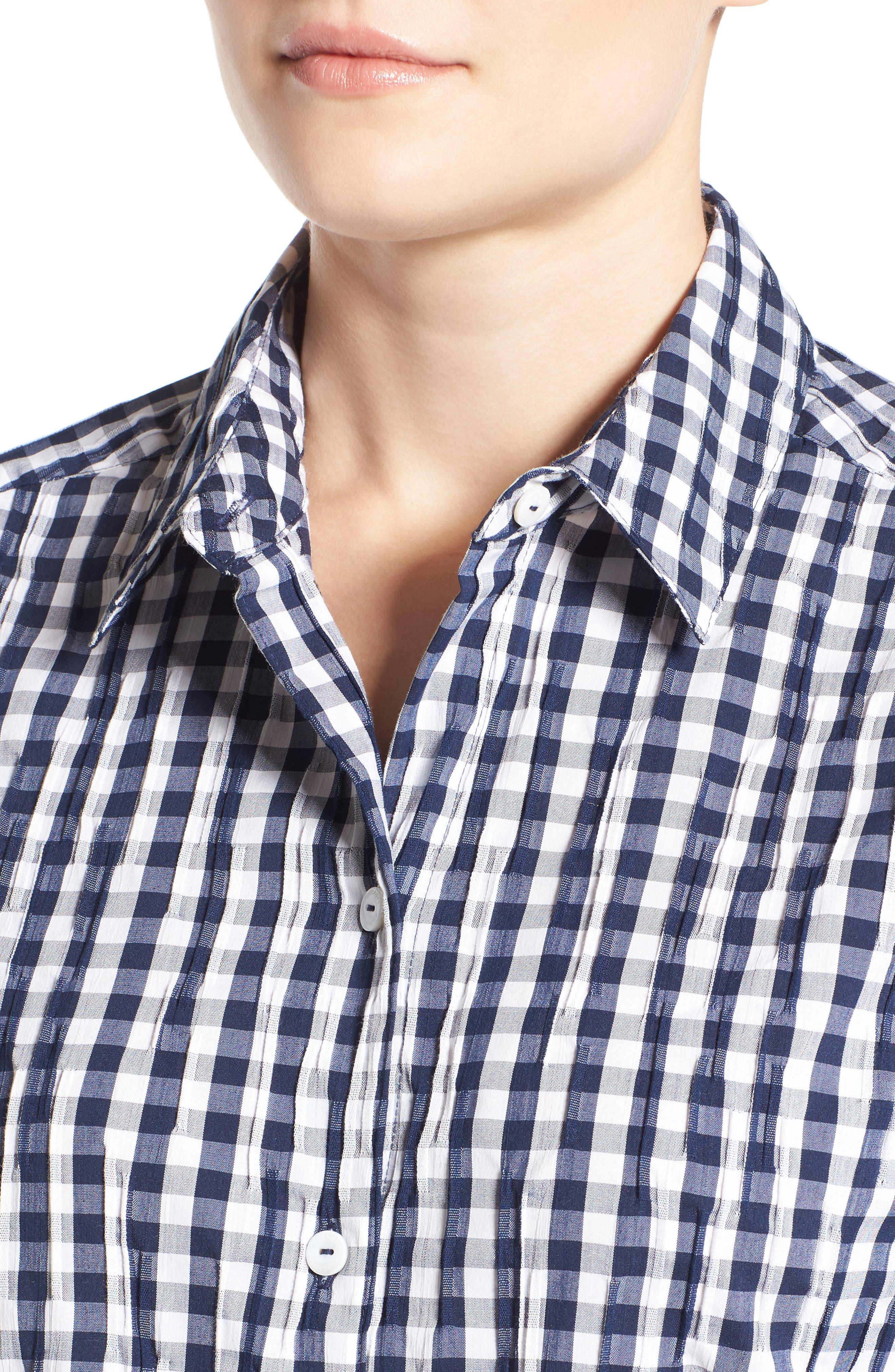 Crinkled Gingham Shirt,                             Alternate thumbnail 15, color,