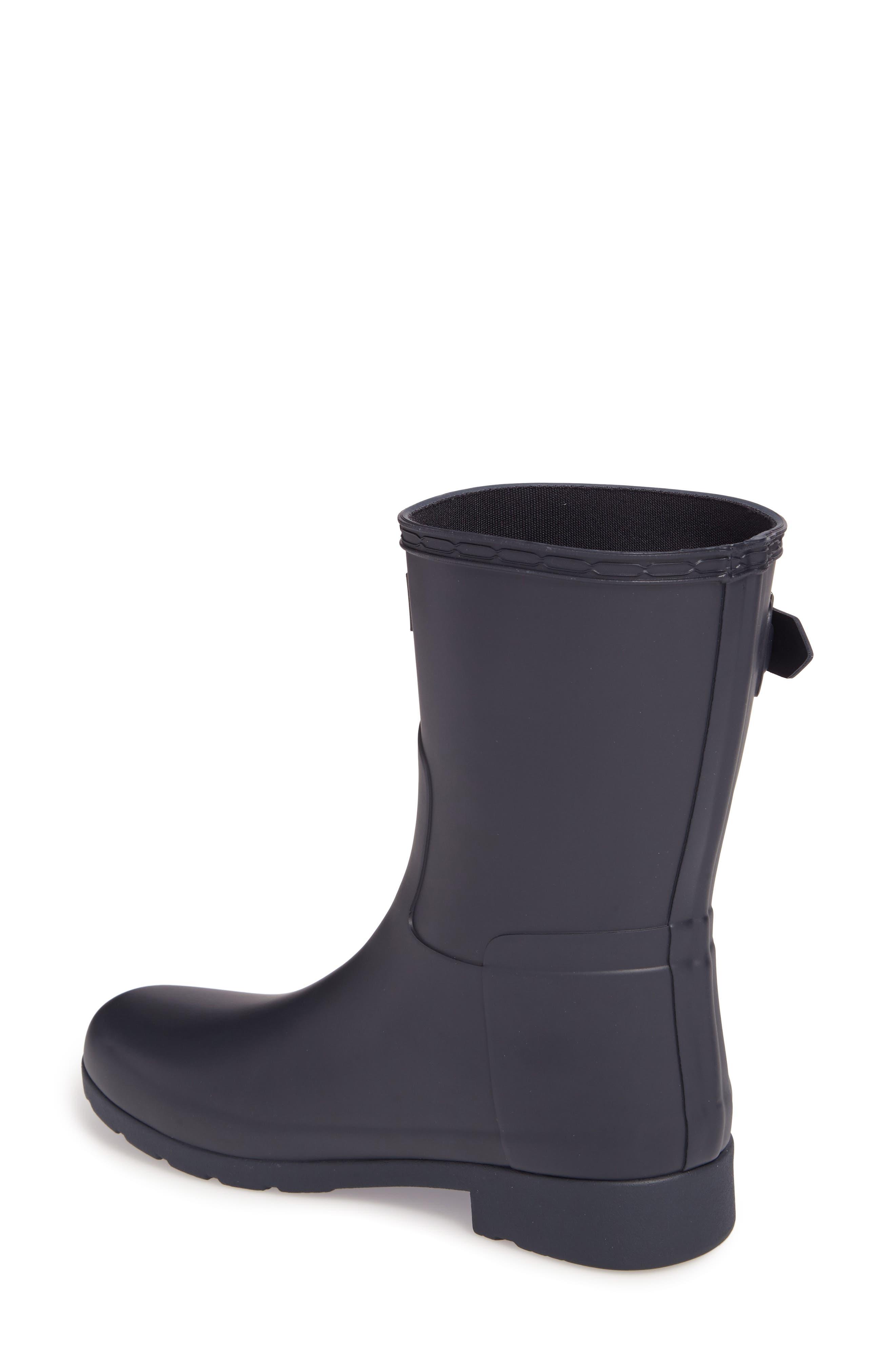 HUNTER,                             Original Refined Short Waterproof Rain Boot,                             Alternate thumbnail 2, color,                             NAVY
