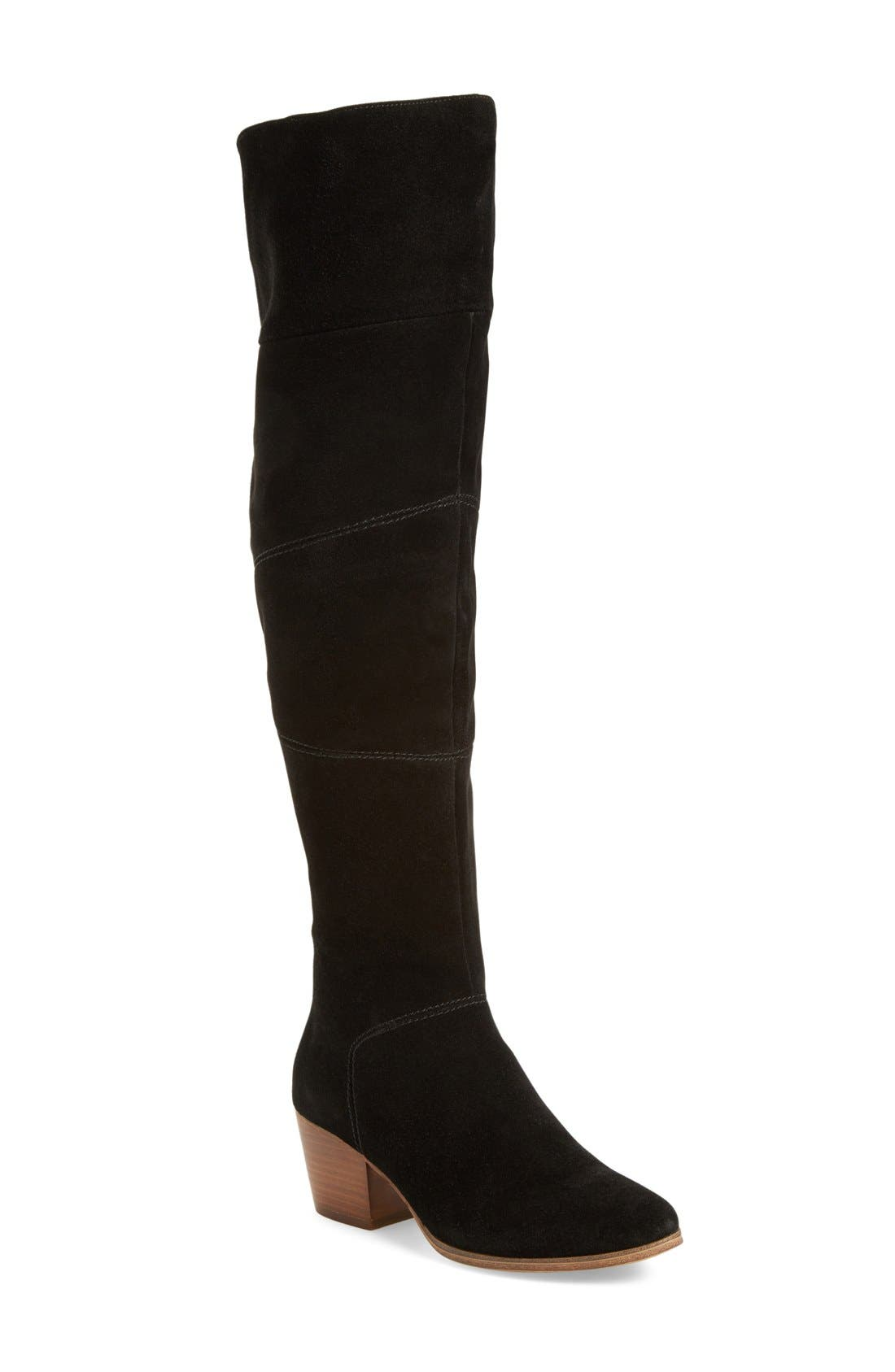 Melbourne Over the Knee Boot,                         Main,                         color, BLACK SUEDE