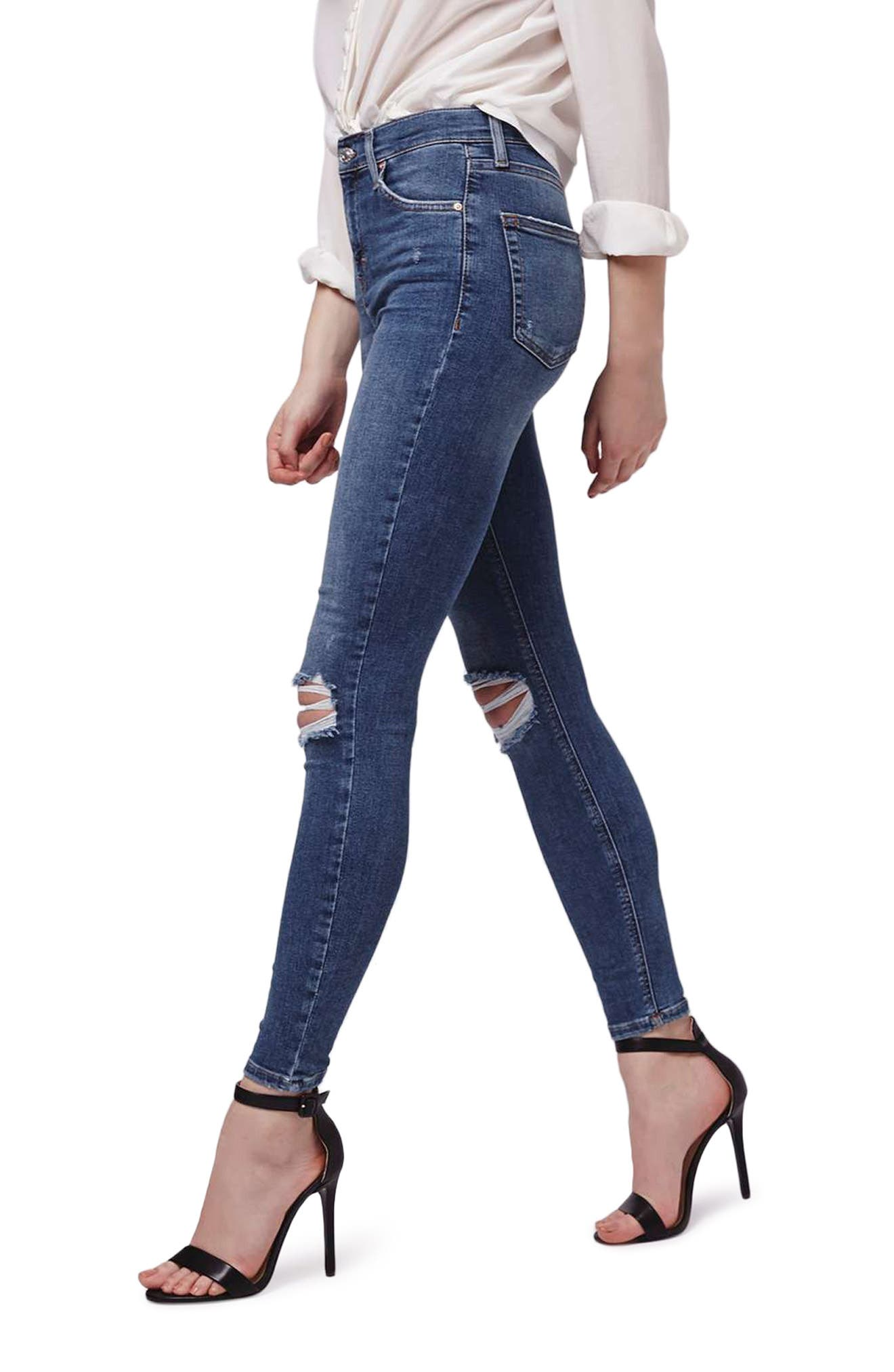 Jamie Rip High Waist Skinny Jeans,                             Alternate thumbnail 3, color,                             420
