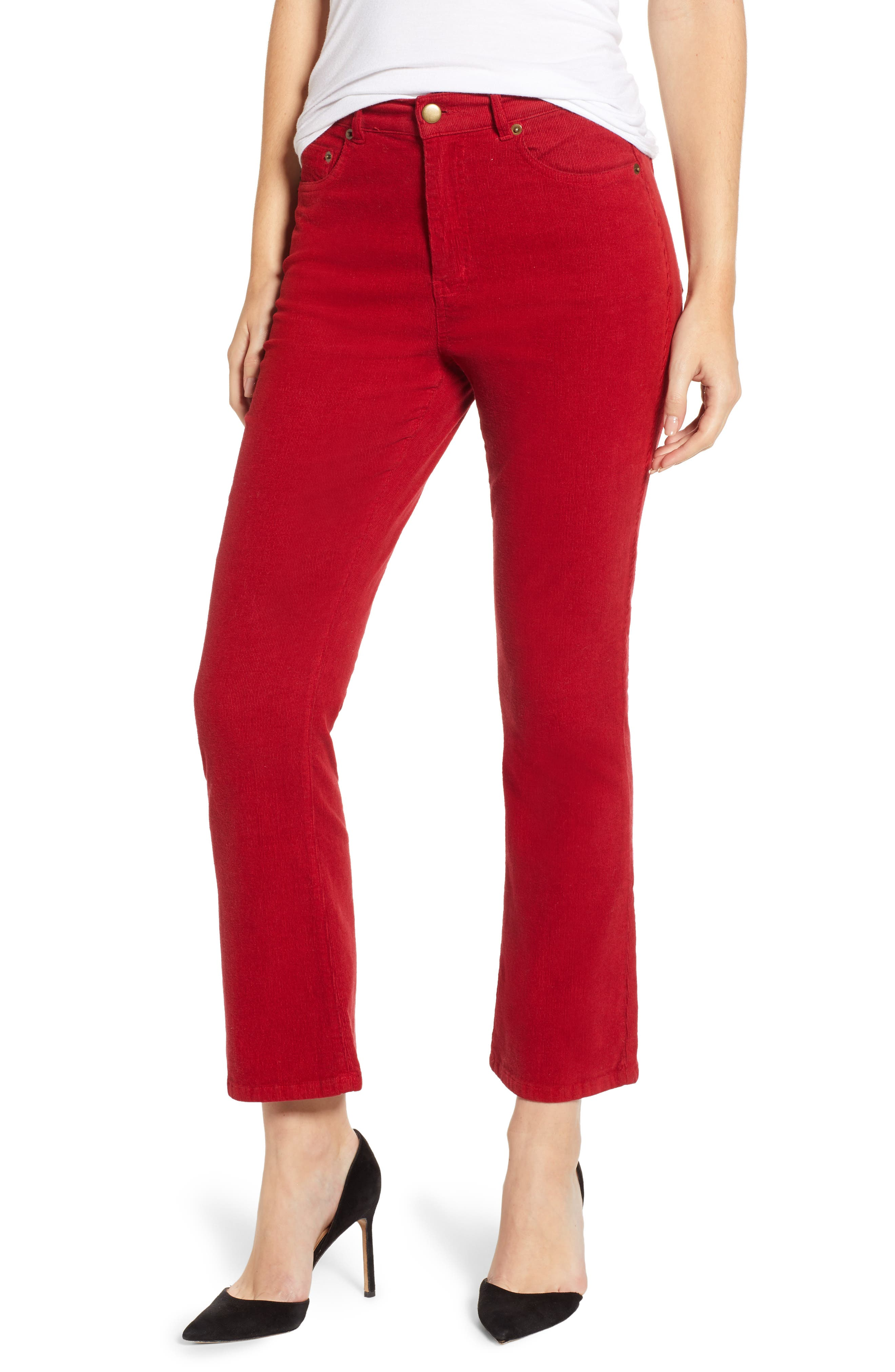 Corduroy Slim Crop Flare Pants,                             Main thumbnail 1, color,                             MINERAL RED
