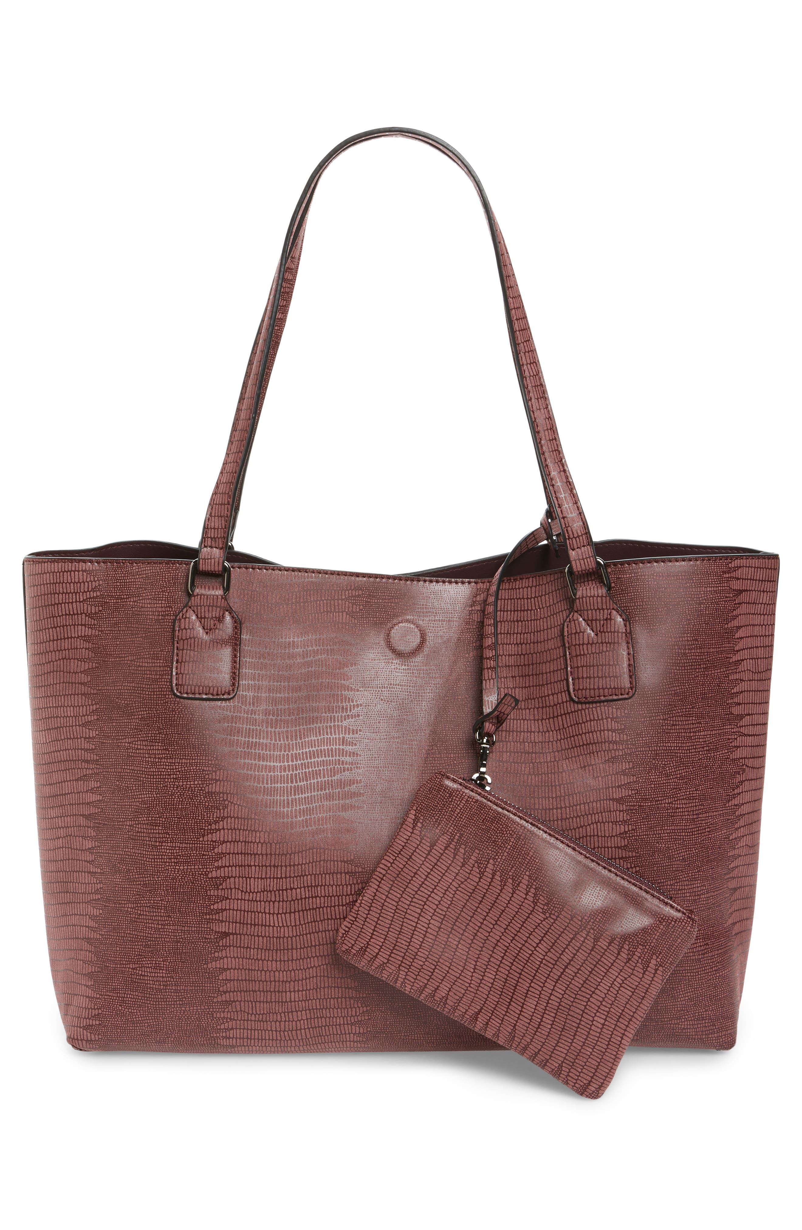 Snake Embossed Faux Leather Tote,                             Alternate thumbnail 9, color,