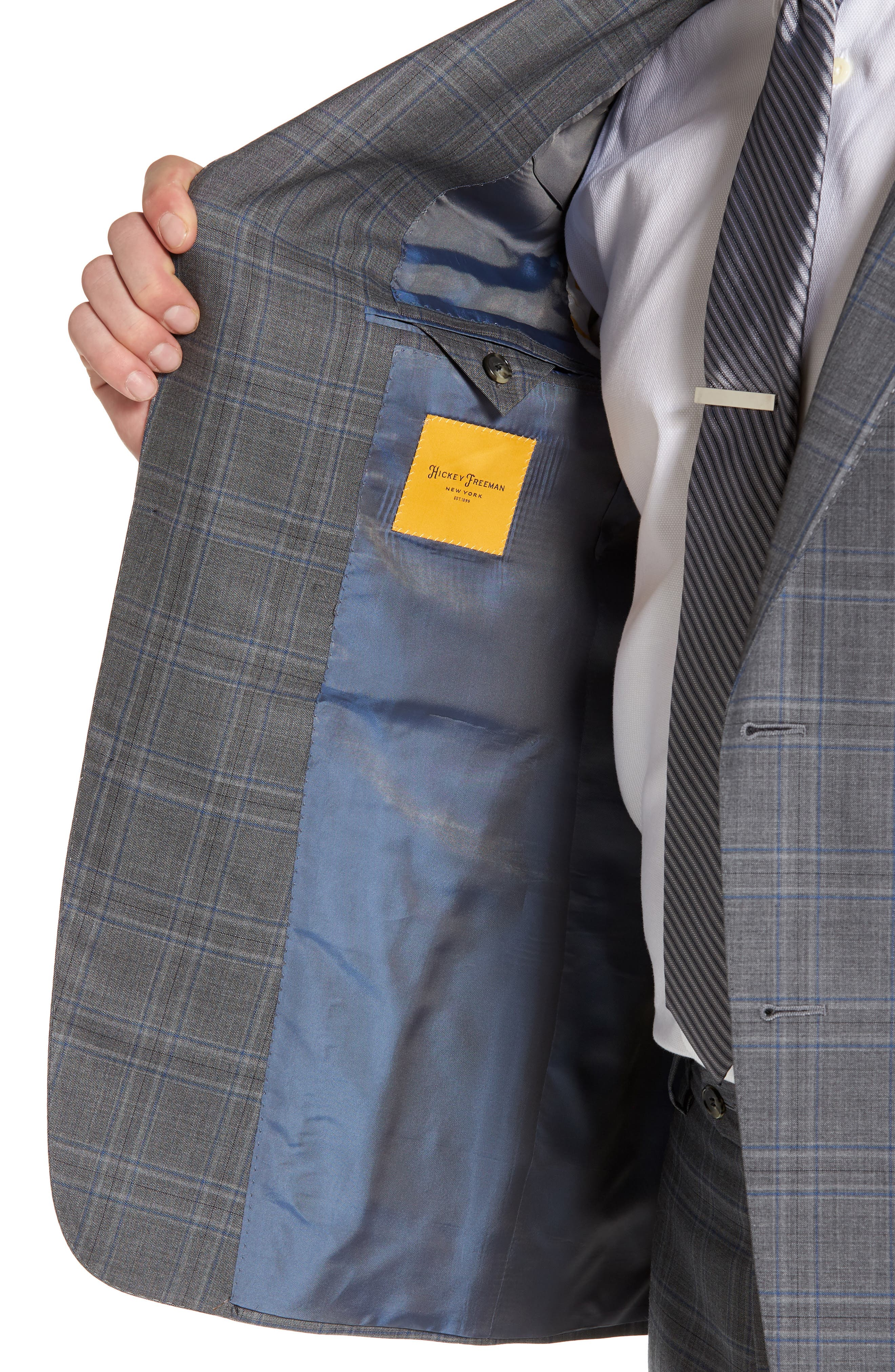 Classic B Fit Plaid Wool Suit,                             Alternate thumbnail 4, color,                             060