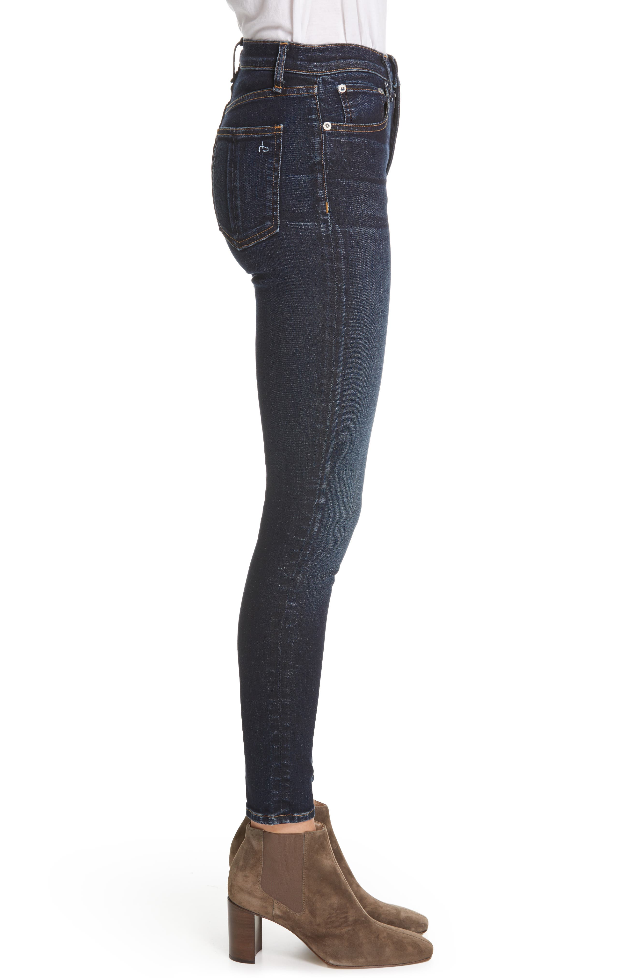 JEAN High Waist Ankle Skinny Jeans,                             Alternate thumbnail 3, color,                             RIVERDALE