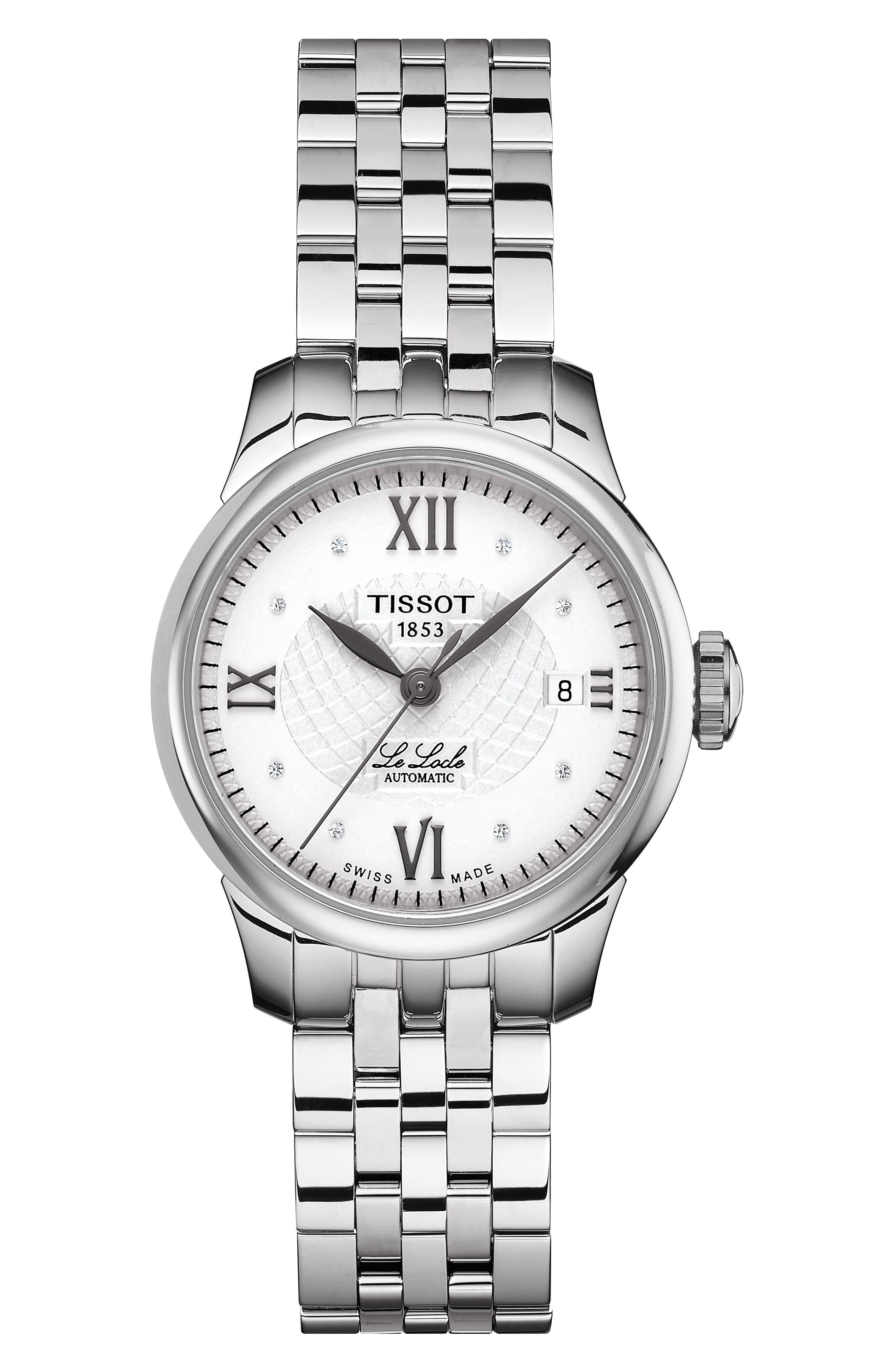 TISSOT Le Locle Automatic Lady Diamond Dial Bracelet Watch, 25Mm in Silver