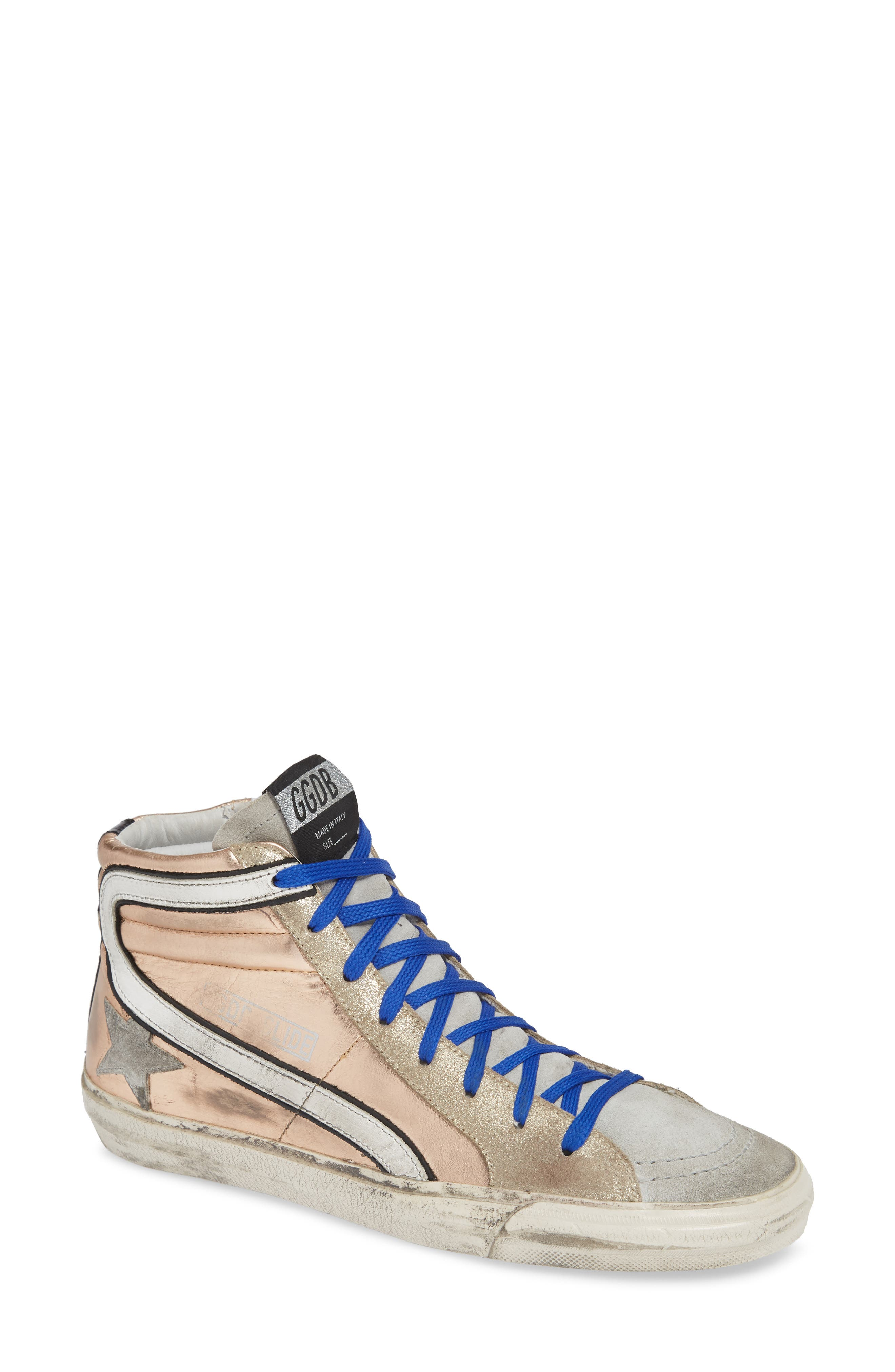 High Top Sneaker,                         Main,                         color, ROSE GOLD/ GREY