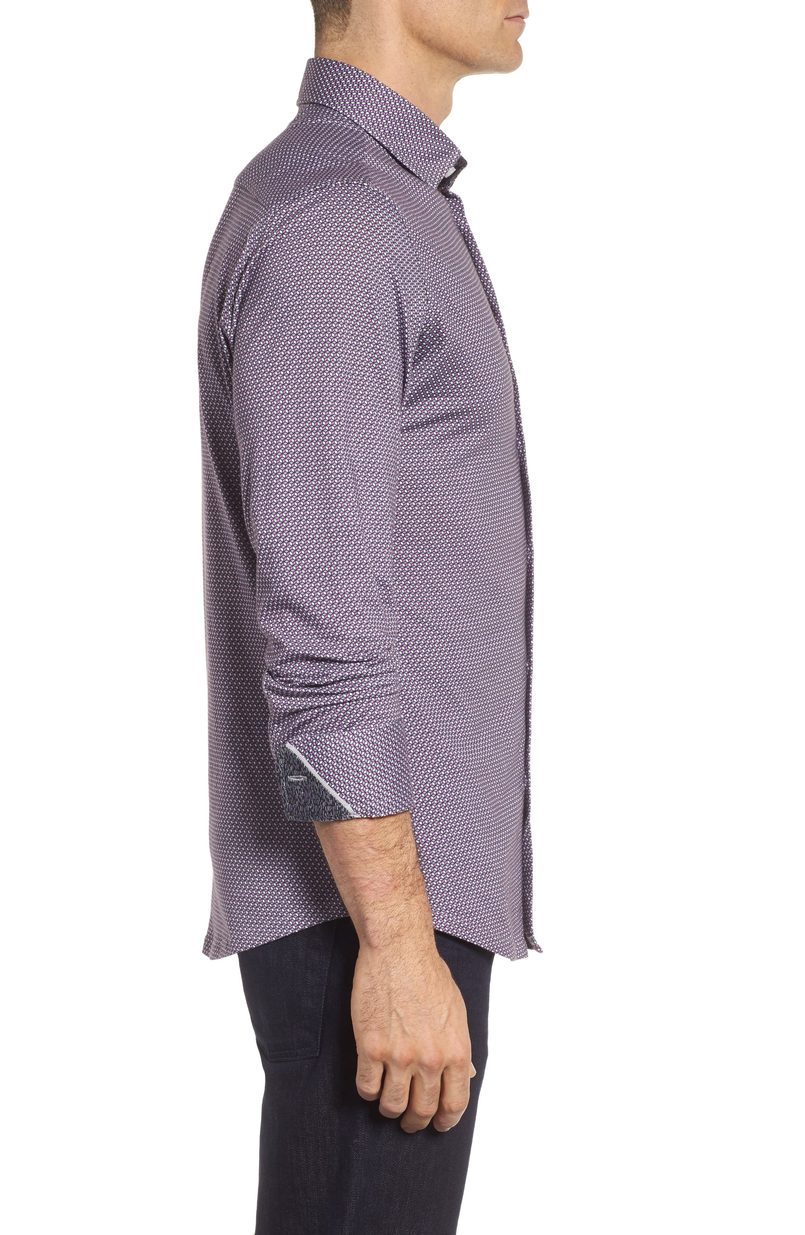 Geo Print Knit Sport Shirt,                             Alternate thumbnail 3, color,